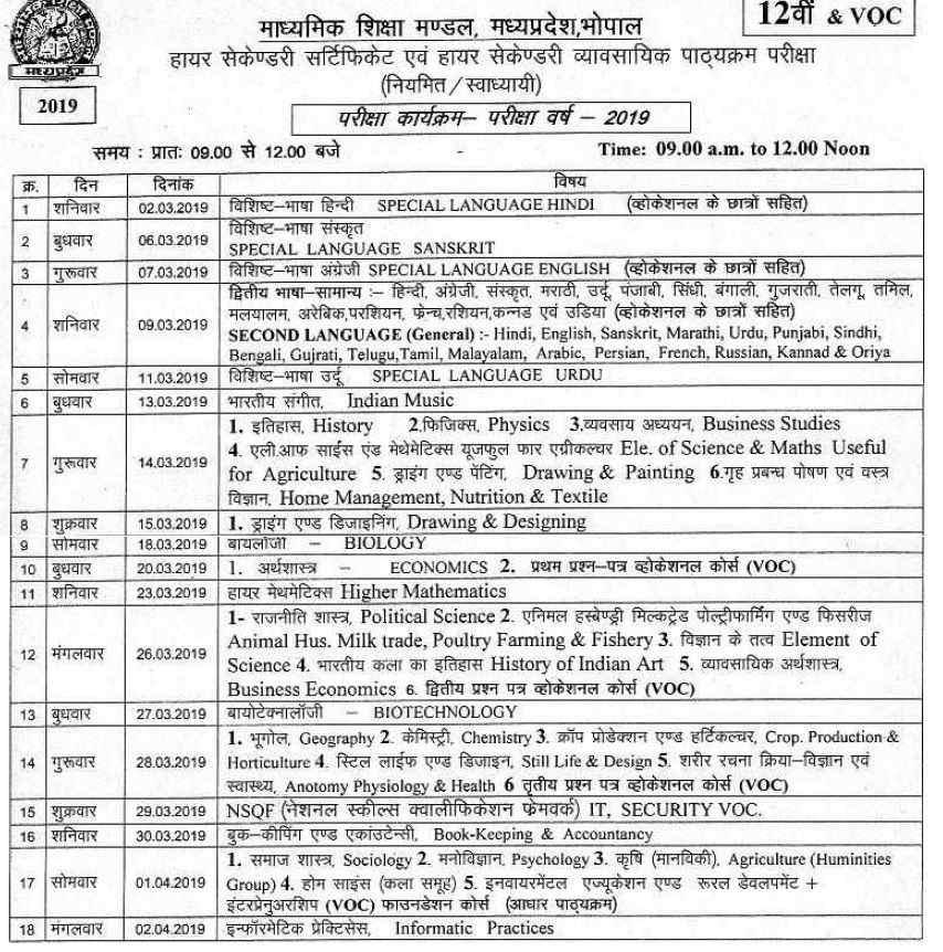 MP Board Class 12 Exam Date-Sheet