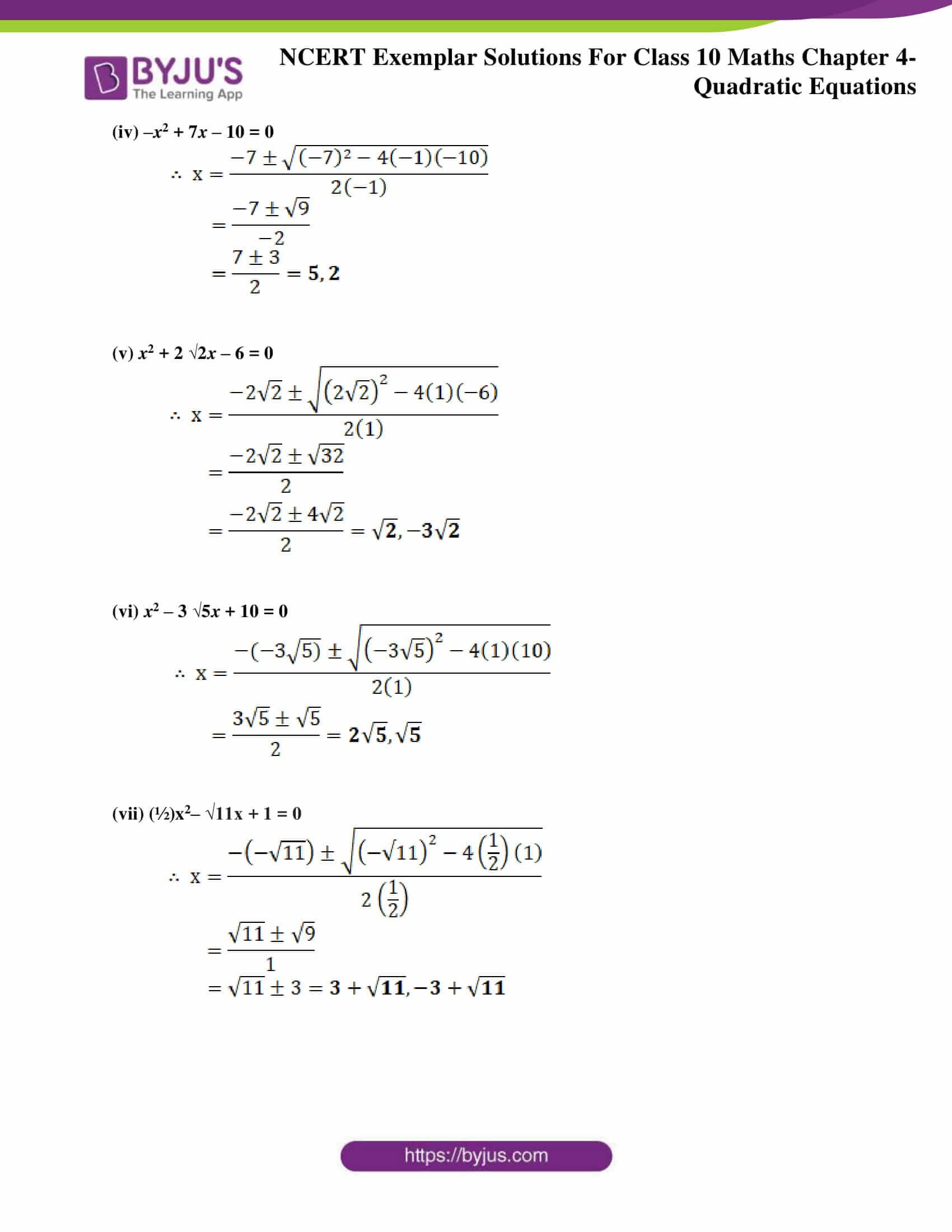 NCERT Exemplar sol Class 10 Maths chapter 4