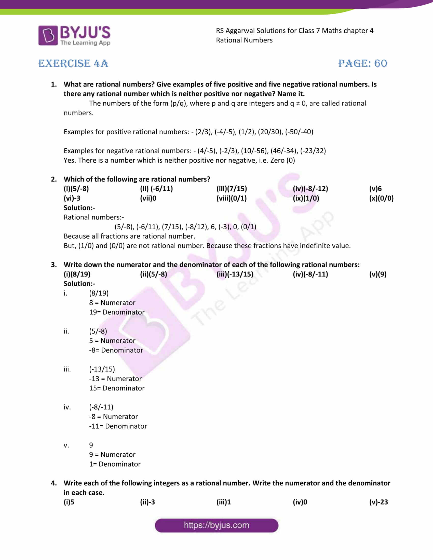rs aggarwal solution class 7 maths chapter ex 4a