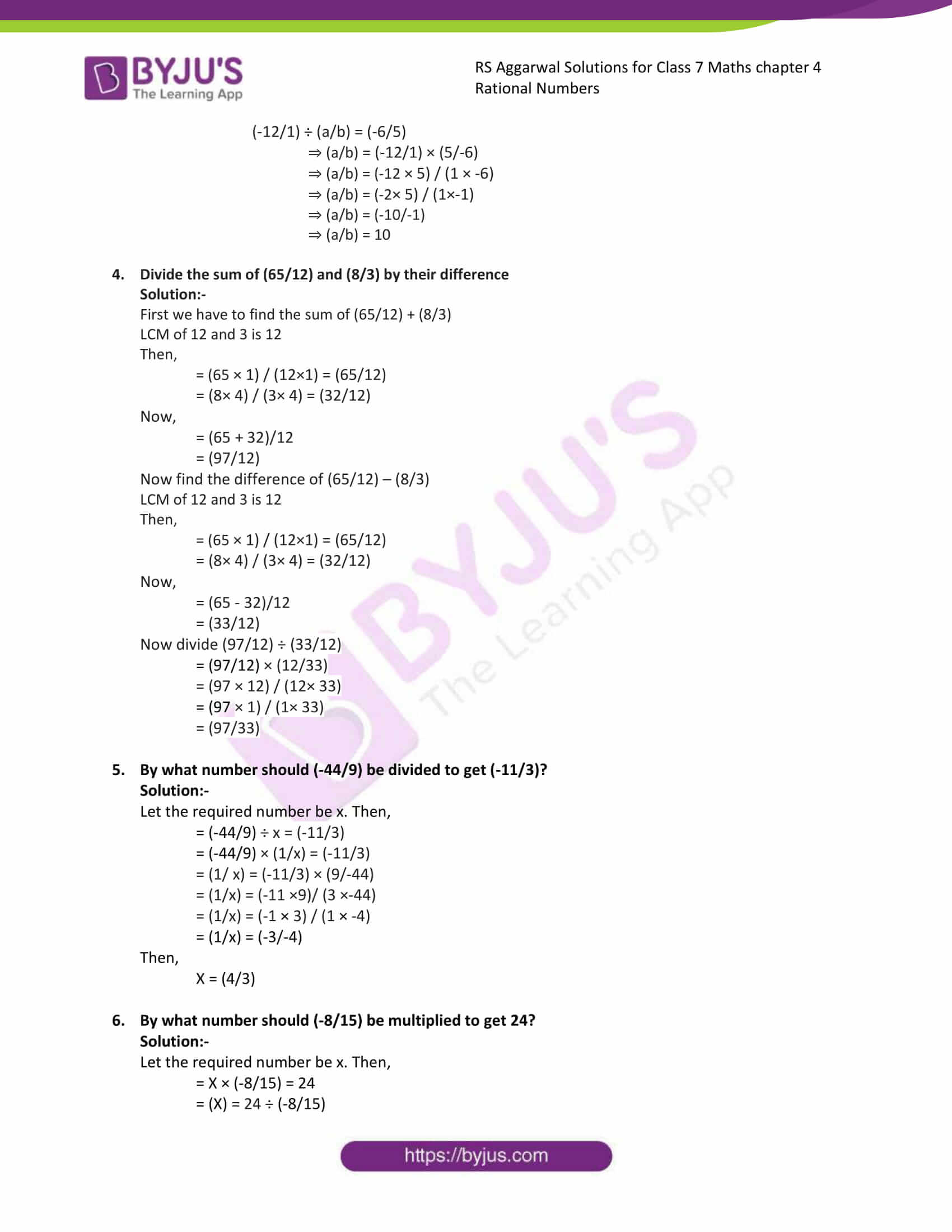 rs aggarwal solution class 7 maths chapter 4