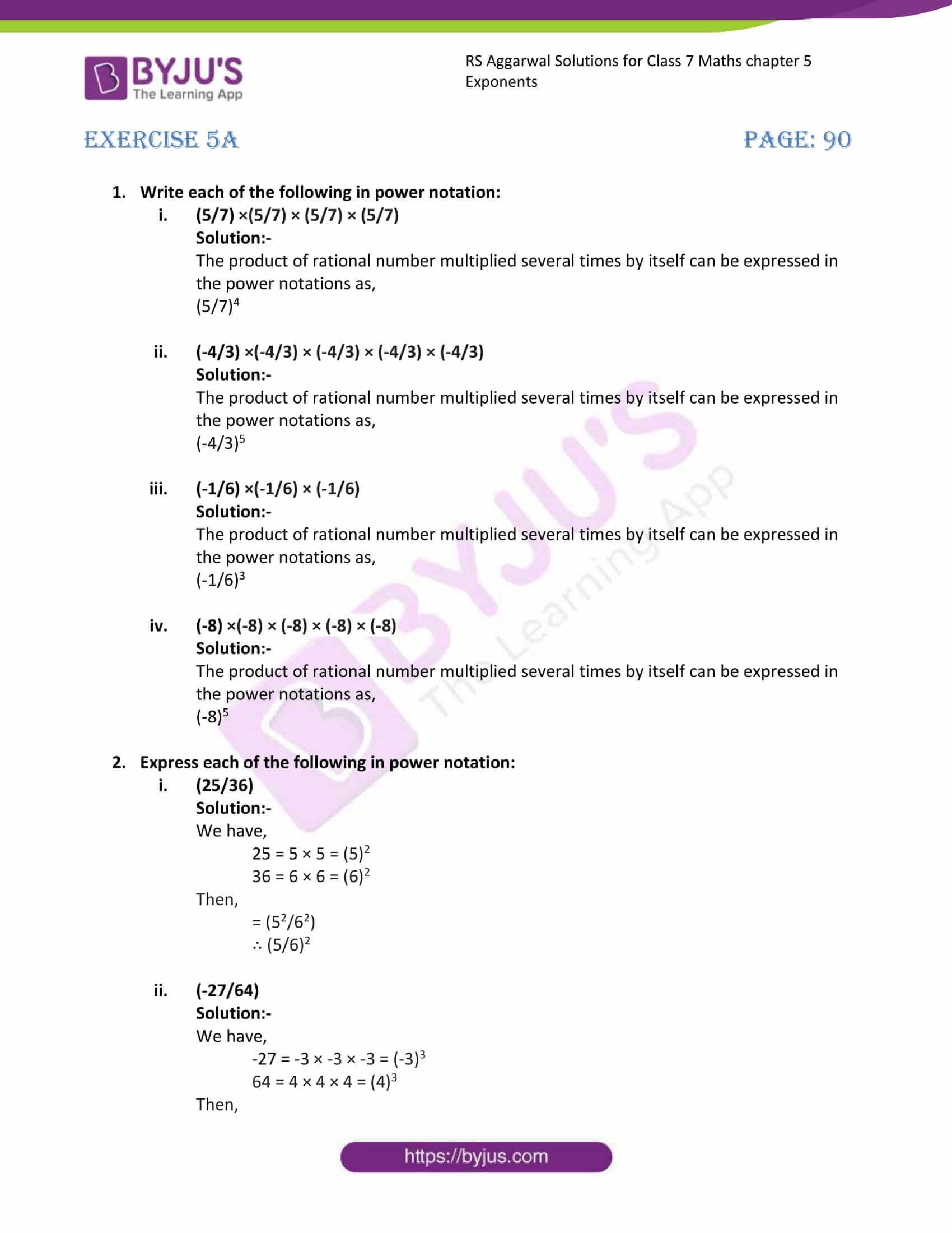 rs aggarwal solution class 7 maths chapter 5