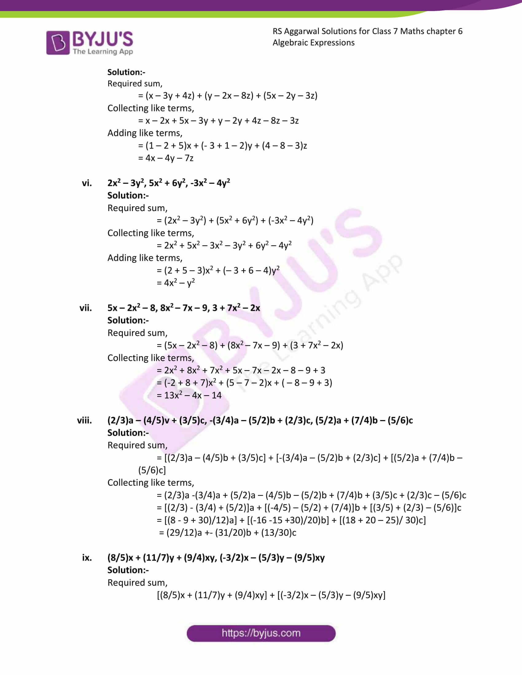 rs aggarwal solution class 7 maths chapter 6