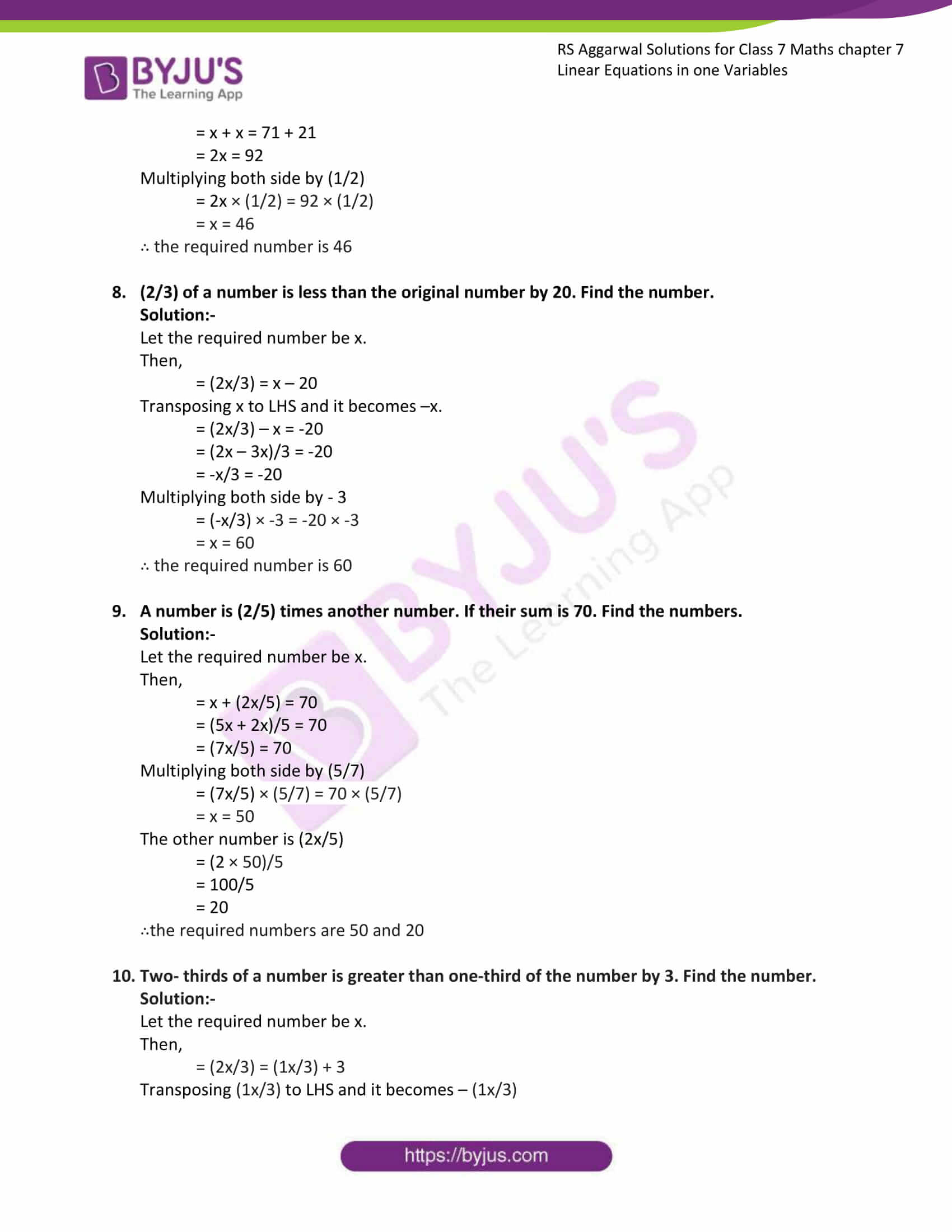 rs aggarwal solution class 7 maths chapter 7
