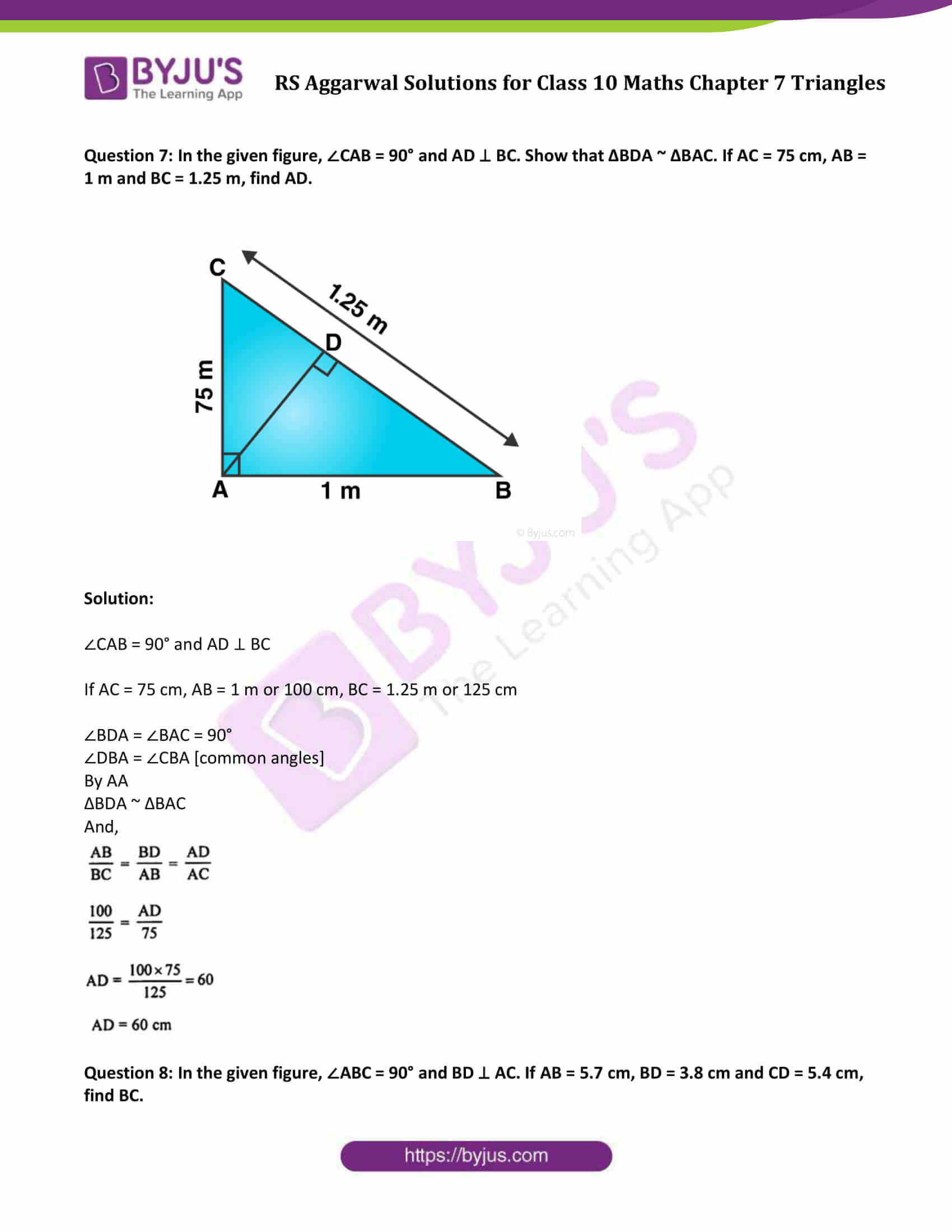 RS Aggarwal Solutions Class 10 Maths Chapter 7 Ex 7b 8