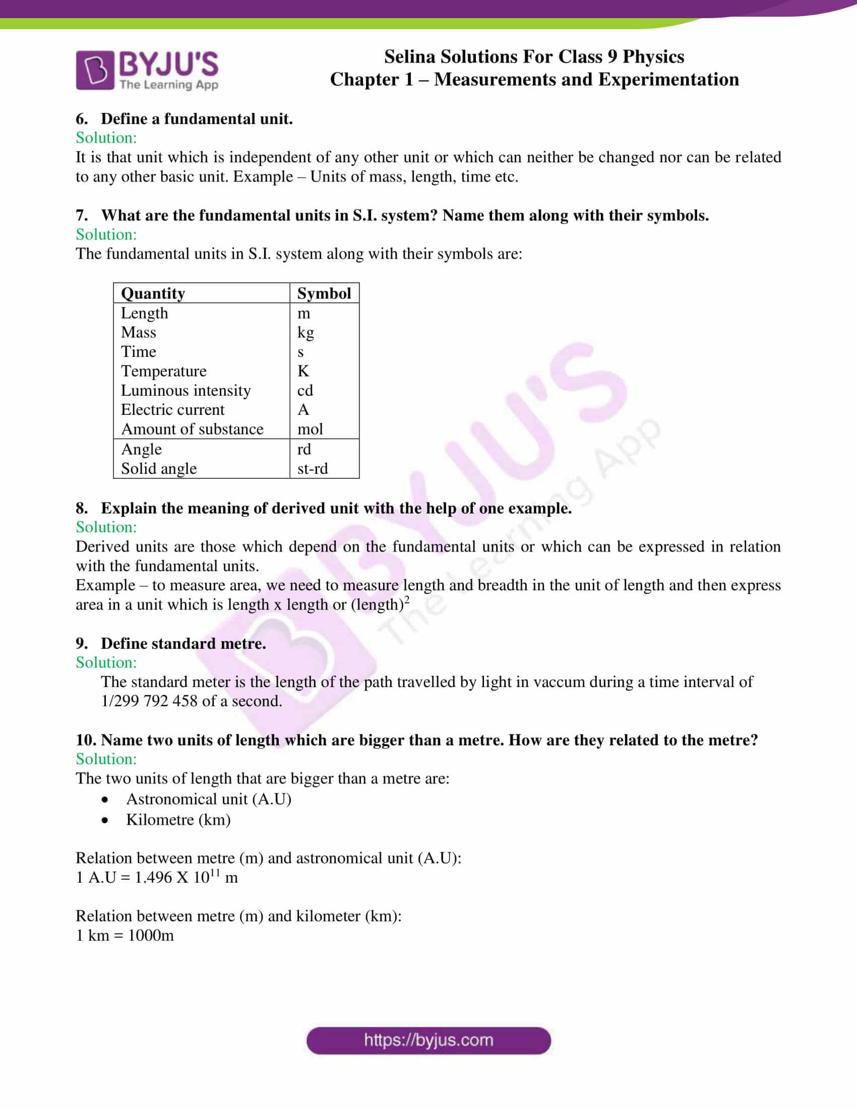 selina solutions class 9 physics chapter 1 Measurements and Experimentation part 02