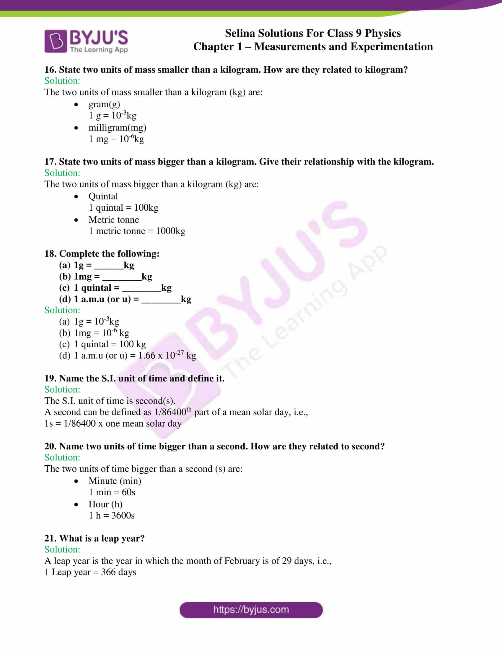 selina solutions class 9 physics chapter 1 Measurements and Experimentation part 04