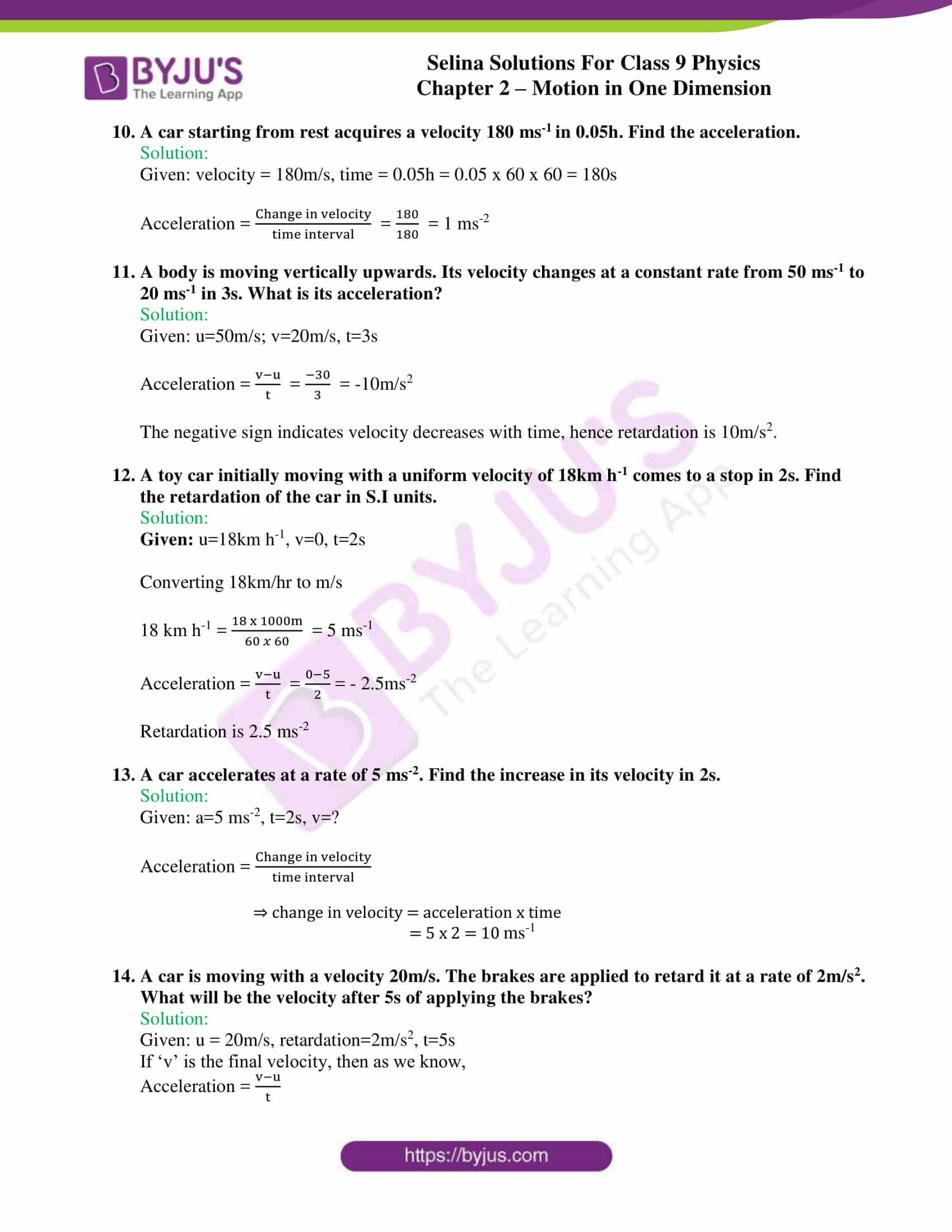 selina solutions class 9 physics chapter 2 Motion in One Dimension part 10