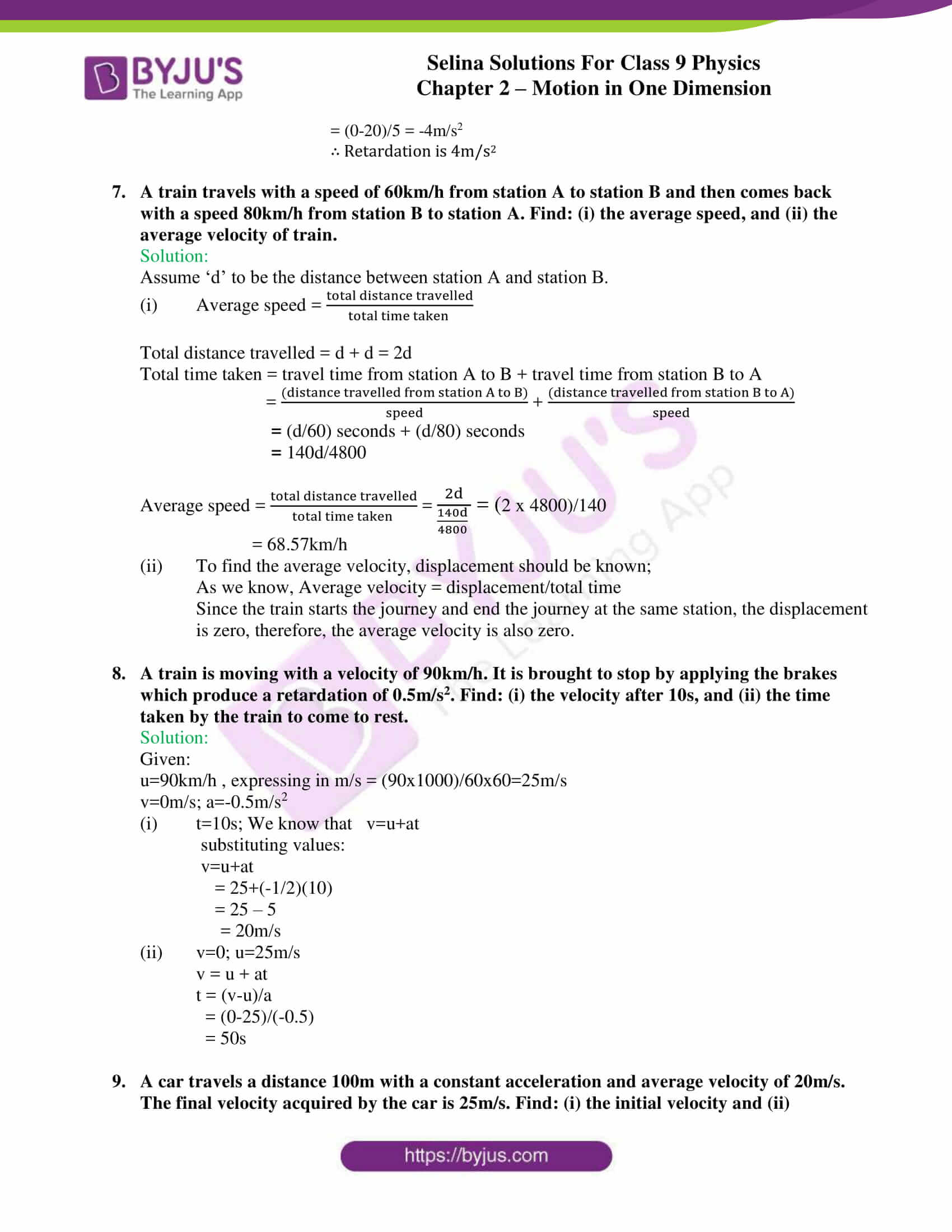 selina solutions class 9 physics chapter 2 Motion in One Dimension part 35