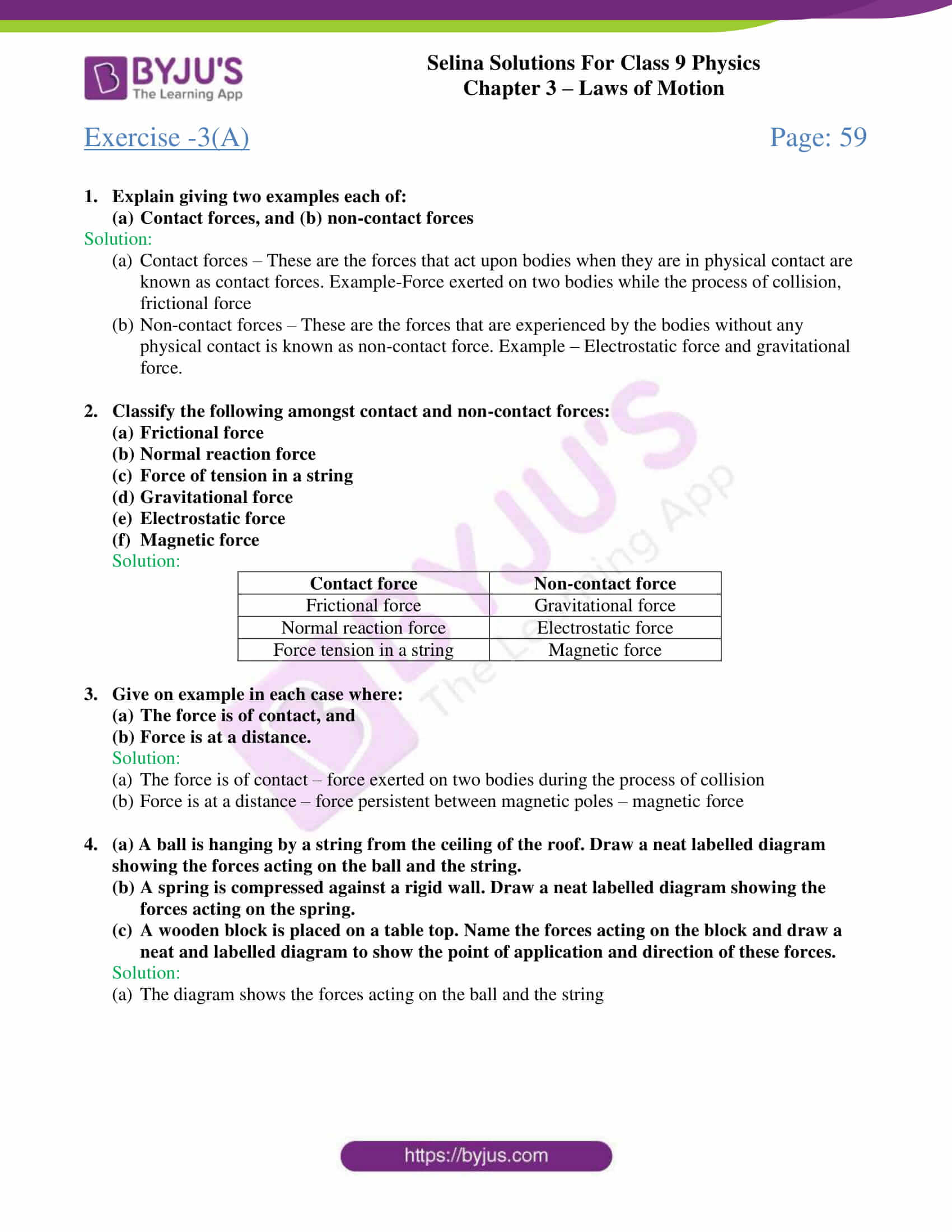 selina solutions class 9 physics chapter 3 Laws of Motion part 01