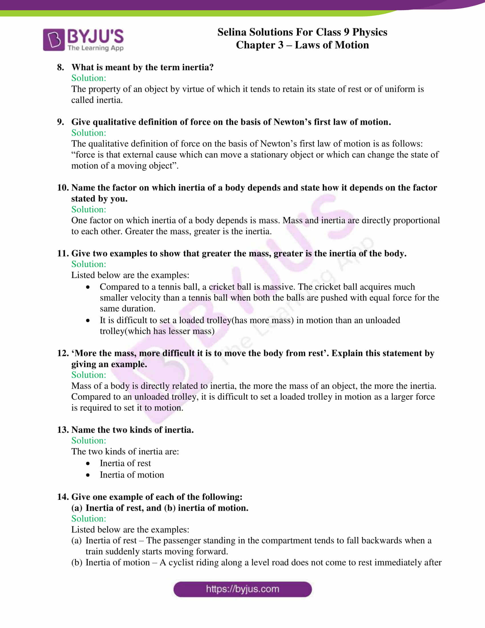 selina solutions class 9 physics chapter 3 Laws of Motion part 06