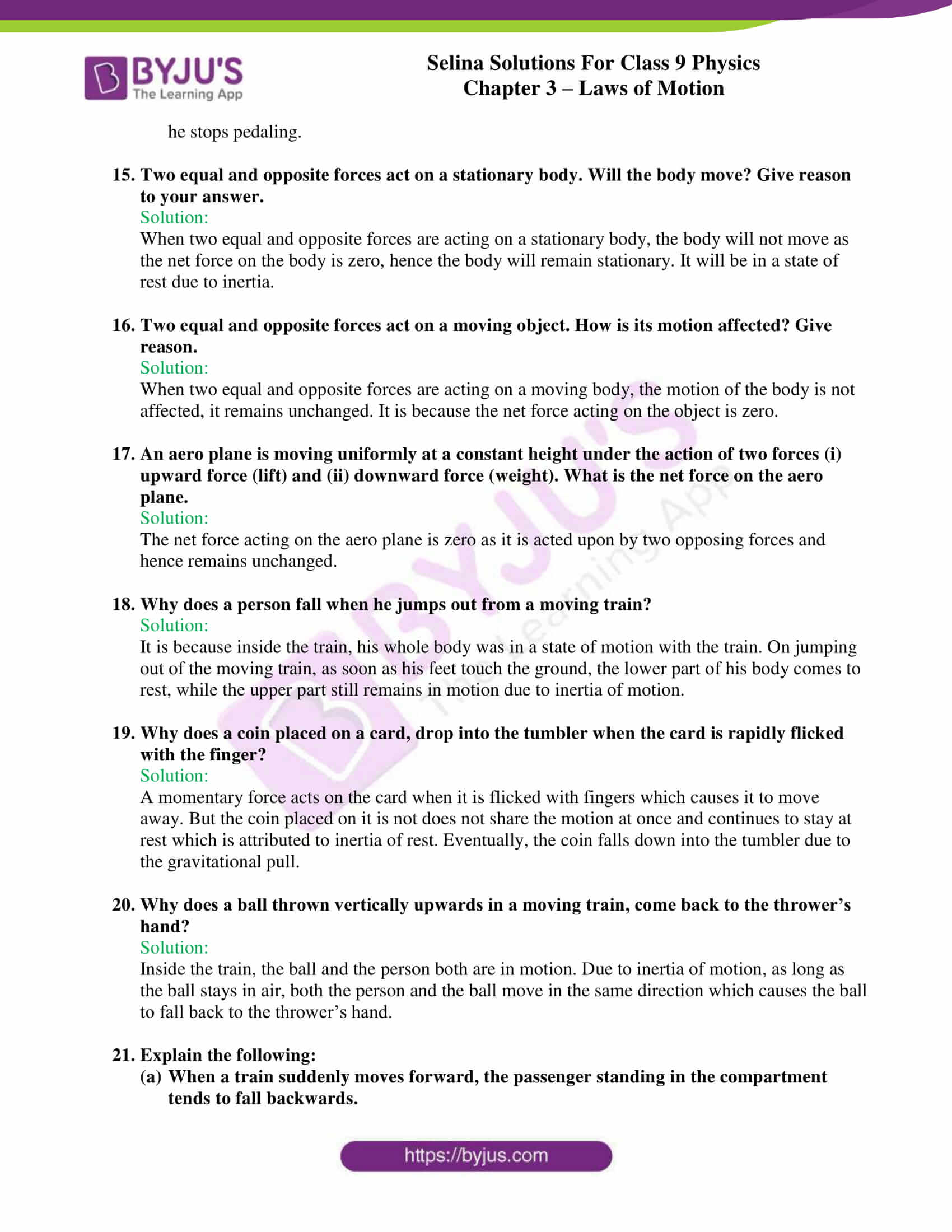 selina solutions class 9 physics chapter 3 Laws of Motion part 07