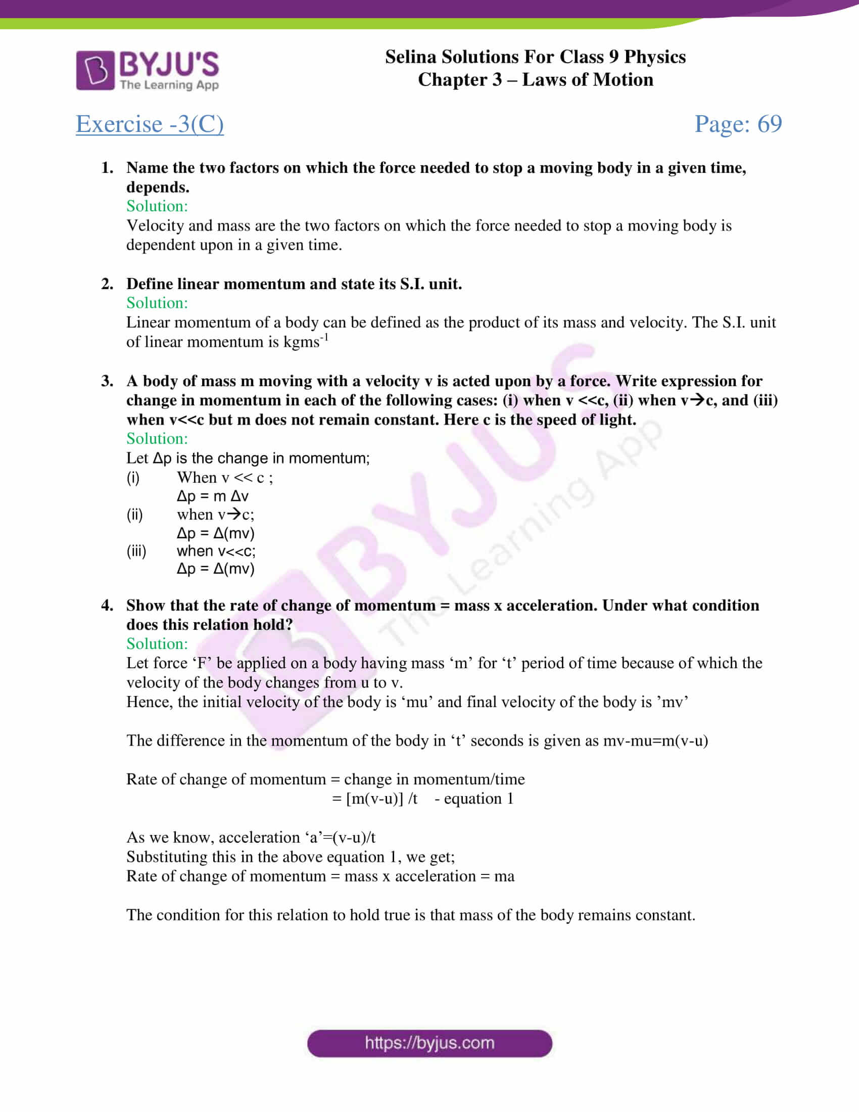 selina solutions class 9 physics chapter 3 Laws of Motion part 10