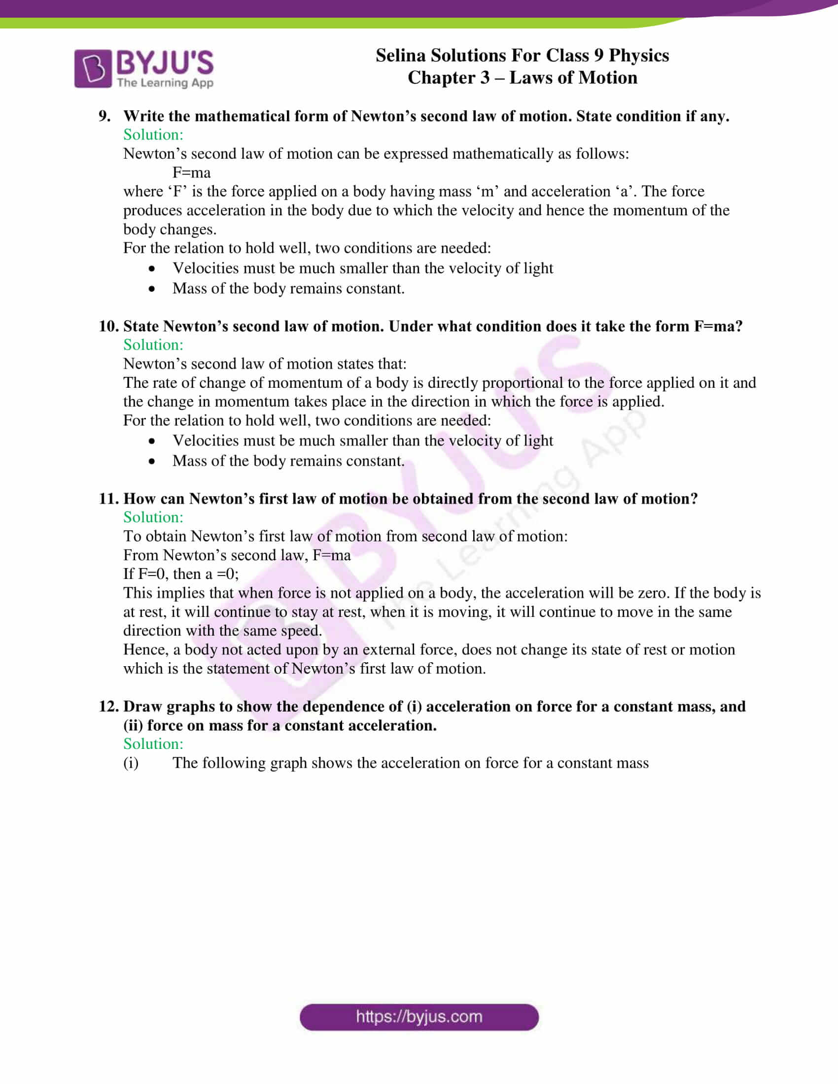 selina solutions class 9 physics chapter 3 Laws of Motion part 12