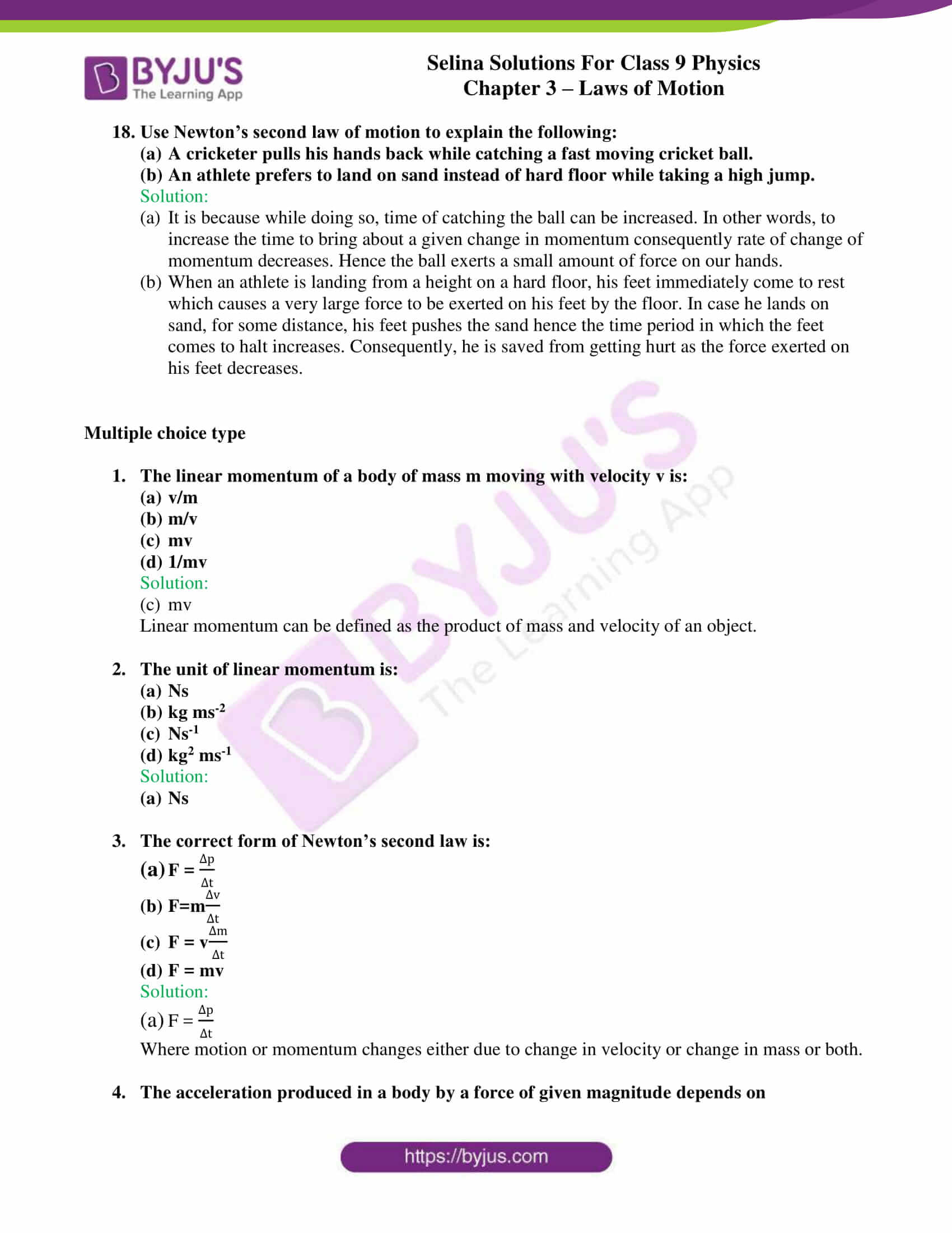 selina solutions class 9 physics chapter 3 Laws of Motion part 15