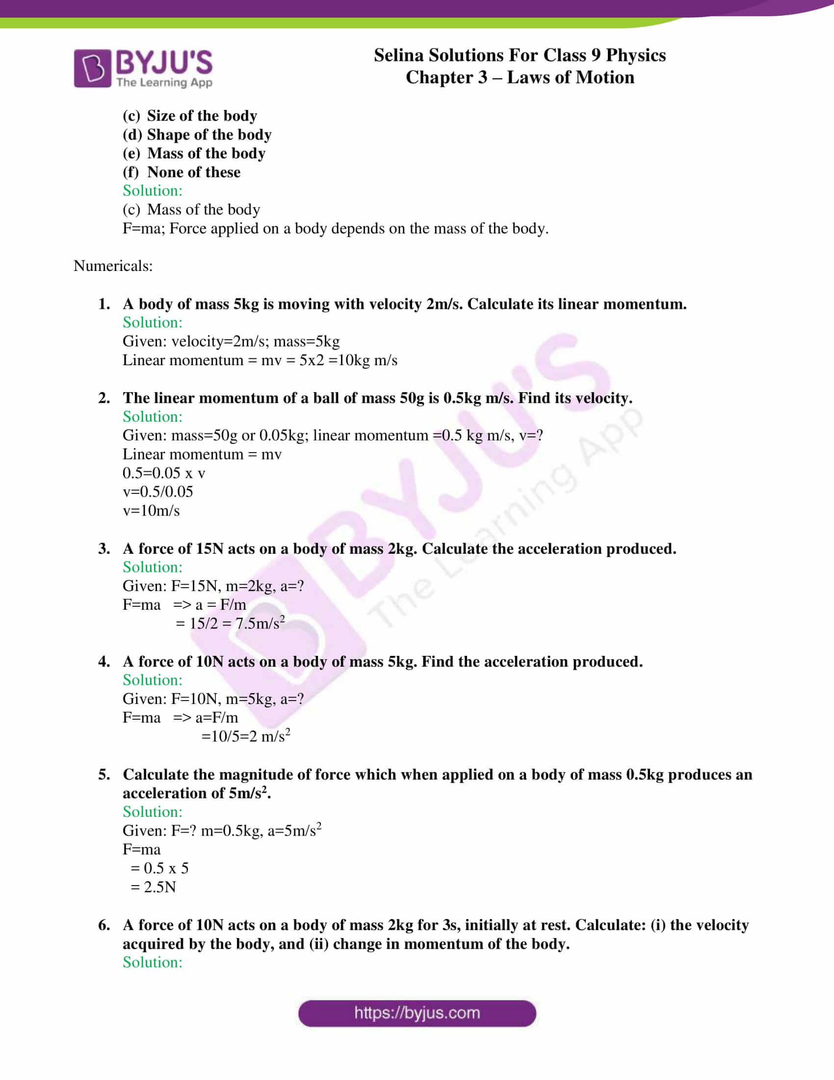 selina solutions class 9 physics chapter 3 Laws of Motion part 16