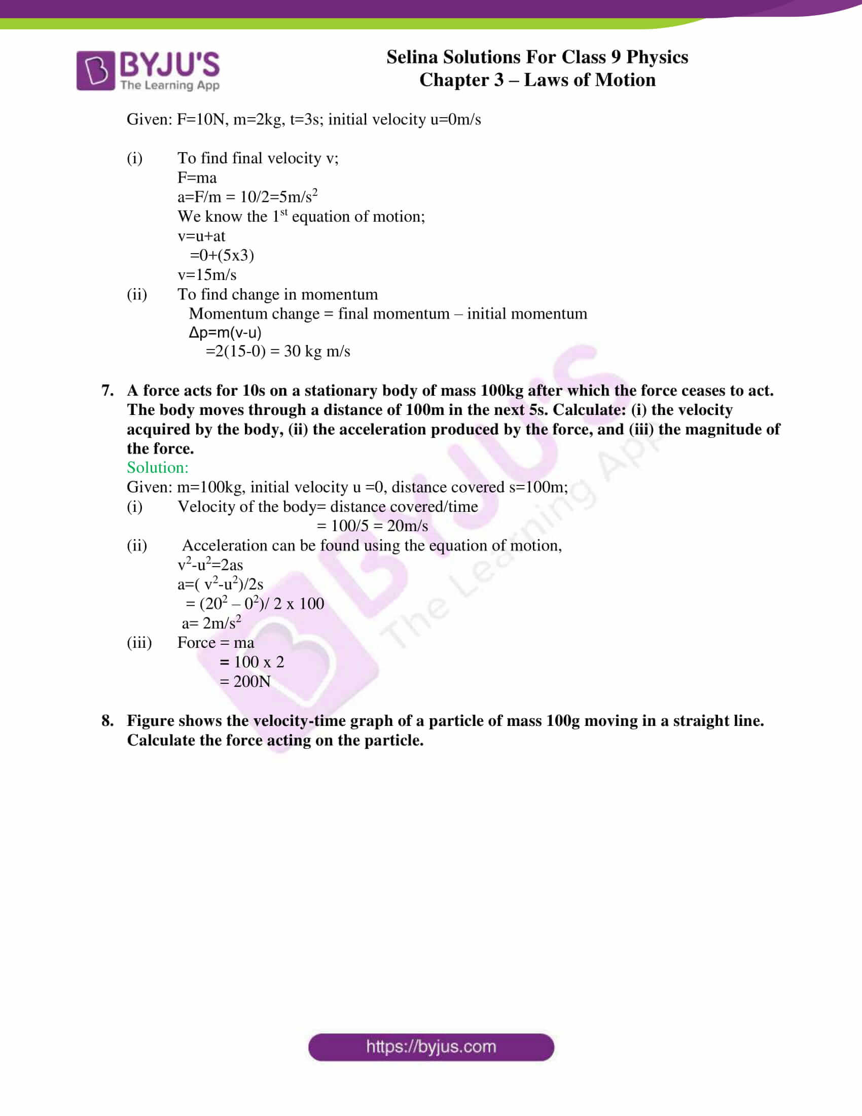 selina solutions class 9 physics chapter 3 Laws of Motion part 17