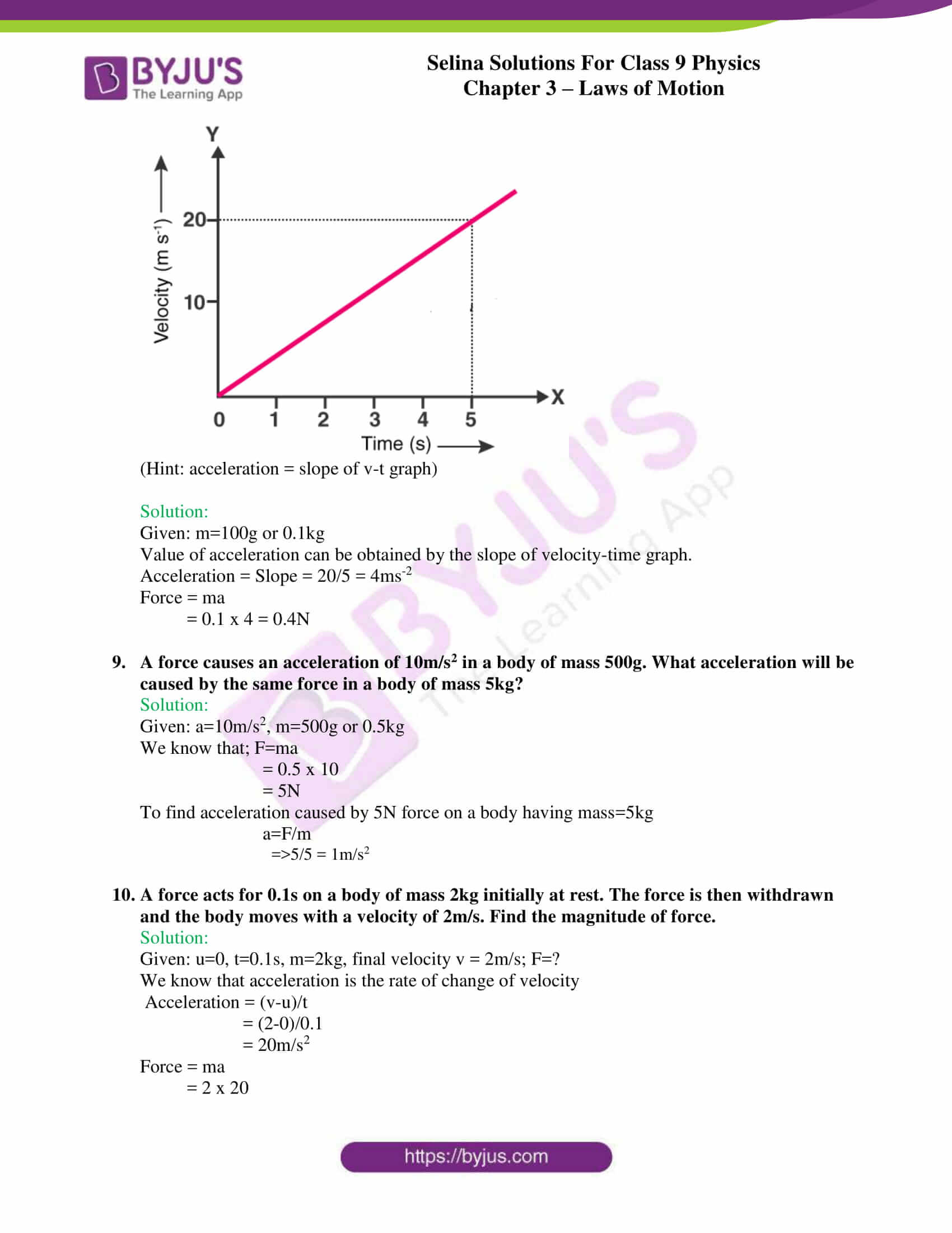 selina solutions class 9 physics chapter 3 Laws of Motion part 18