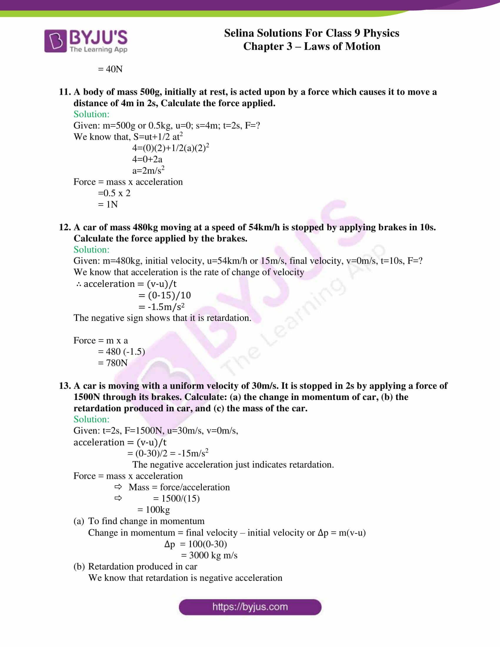 selina solutions class 9 physics chapter 3 Laws of Motion part 19