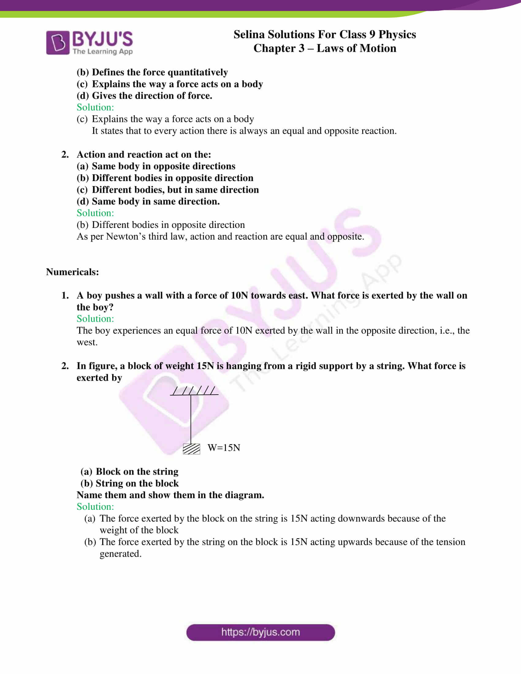 selina solutions class 9 physics chapter 3 Laws of Motion part 25