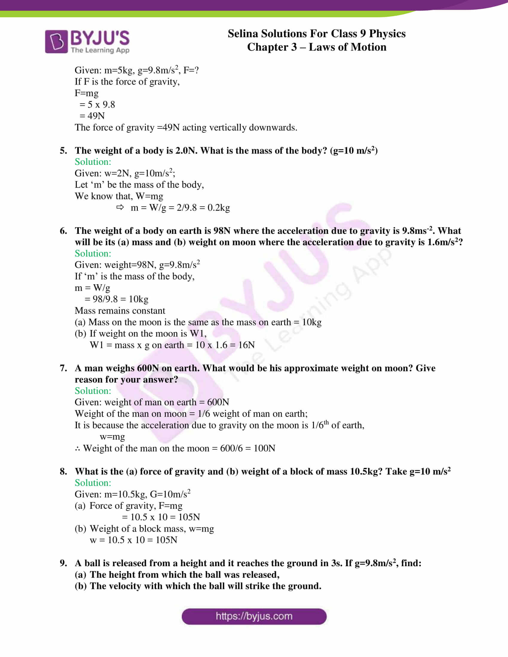 selina solutions class 9 physics chapter 3 Laws of Motion part 32
