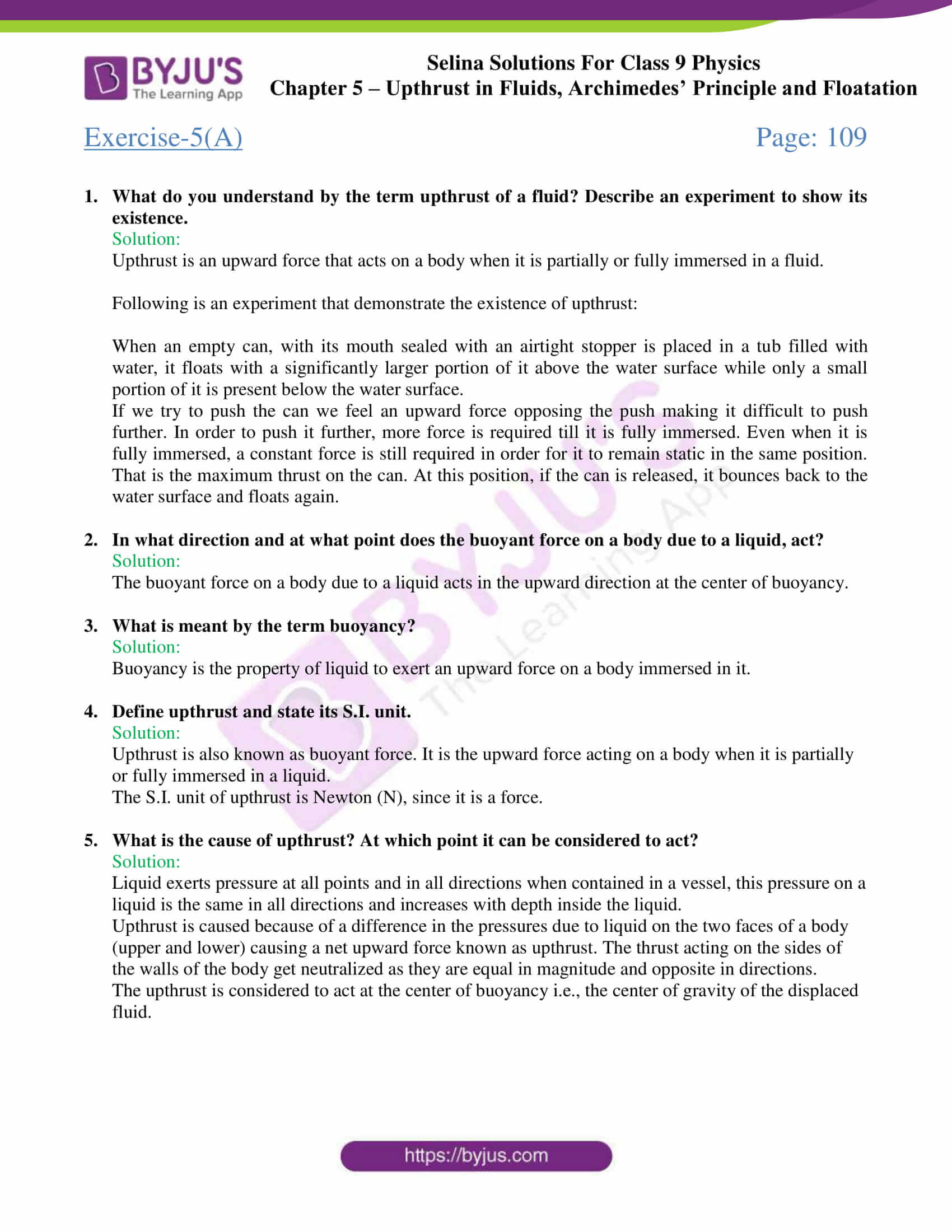 selina solutions class 9 physics chapter 5 part 01