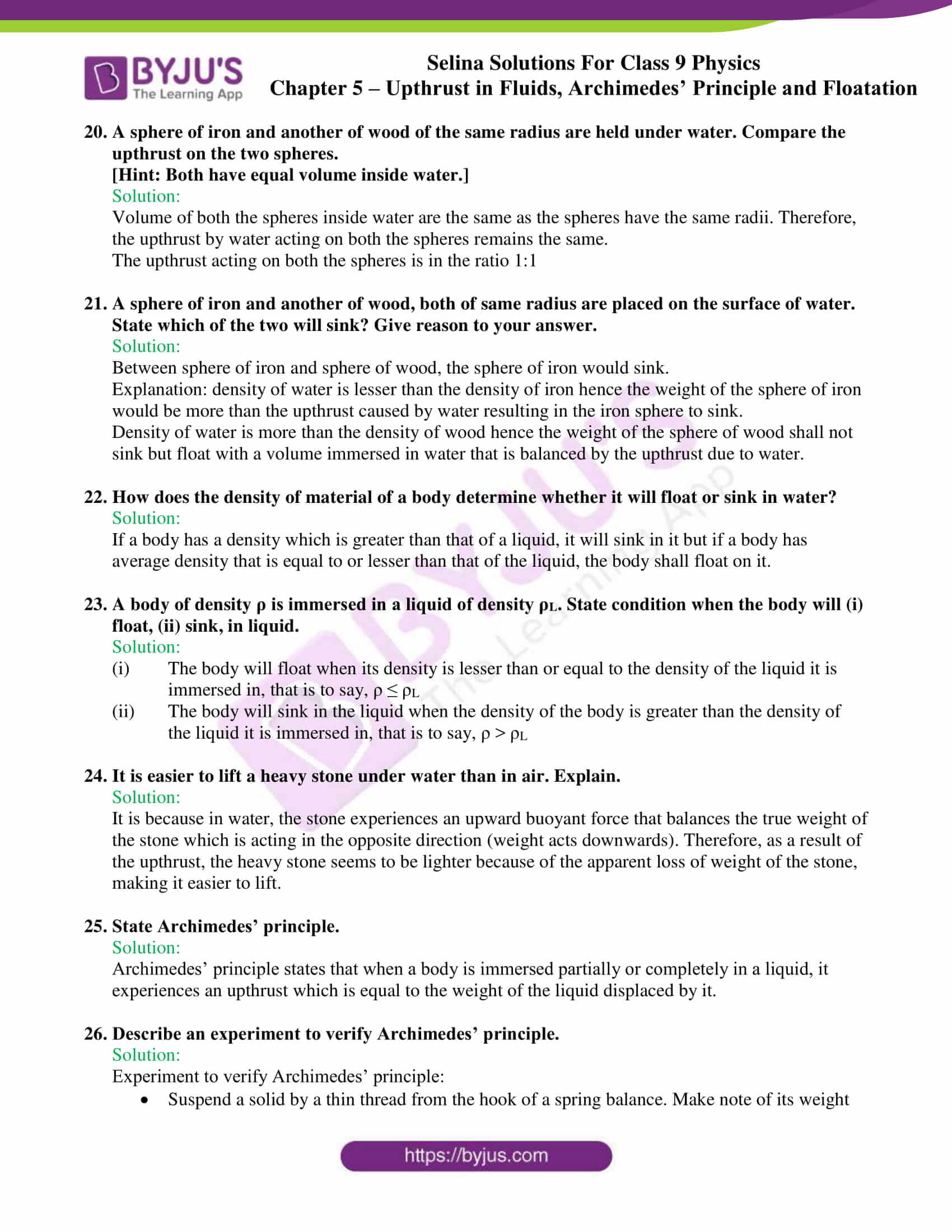 selina solutions class 9 physics chapter 5 part 07