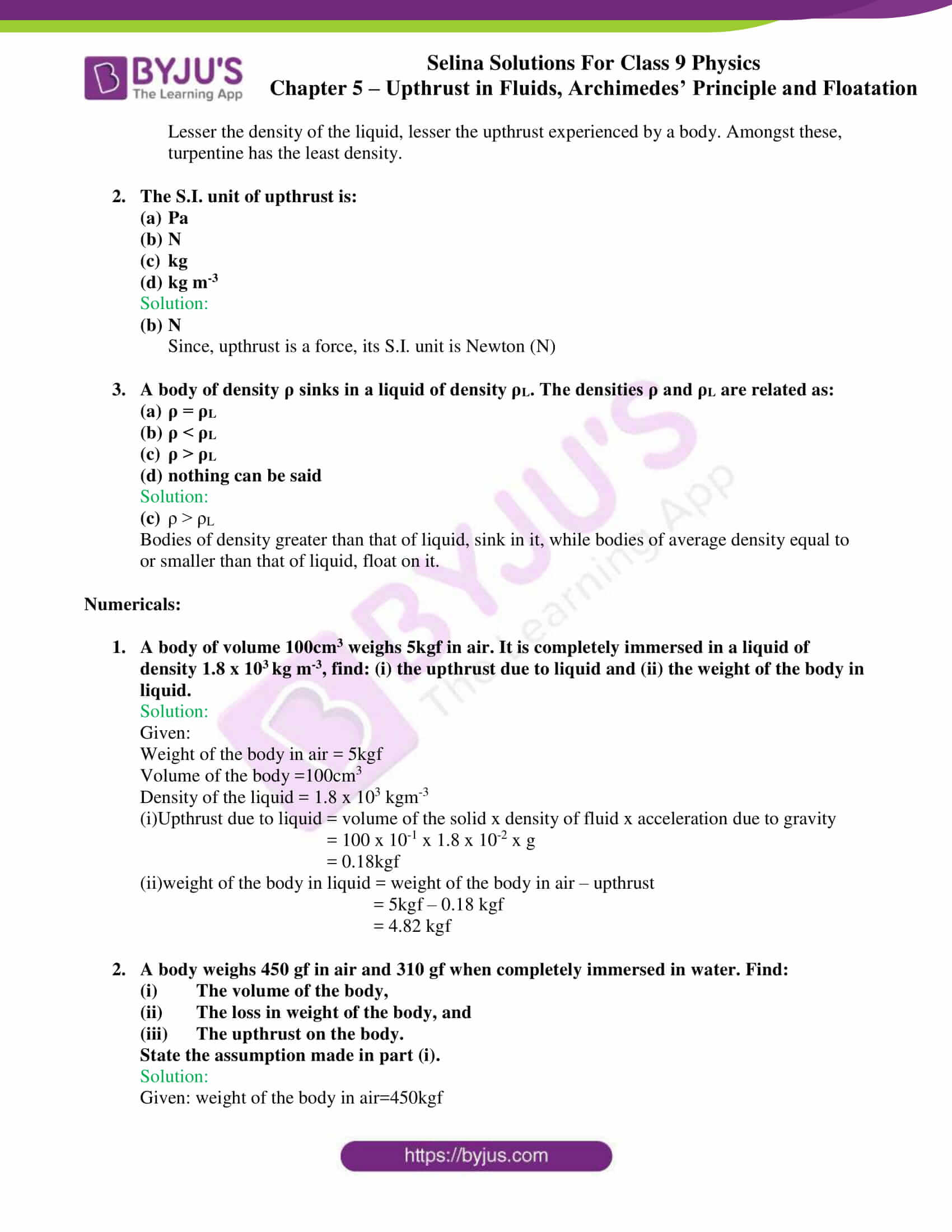 selina solutions class 9 physics chapter 5 part 09