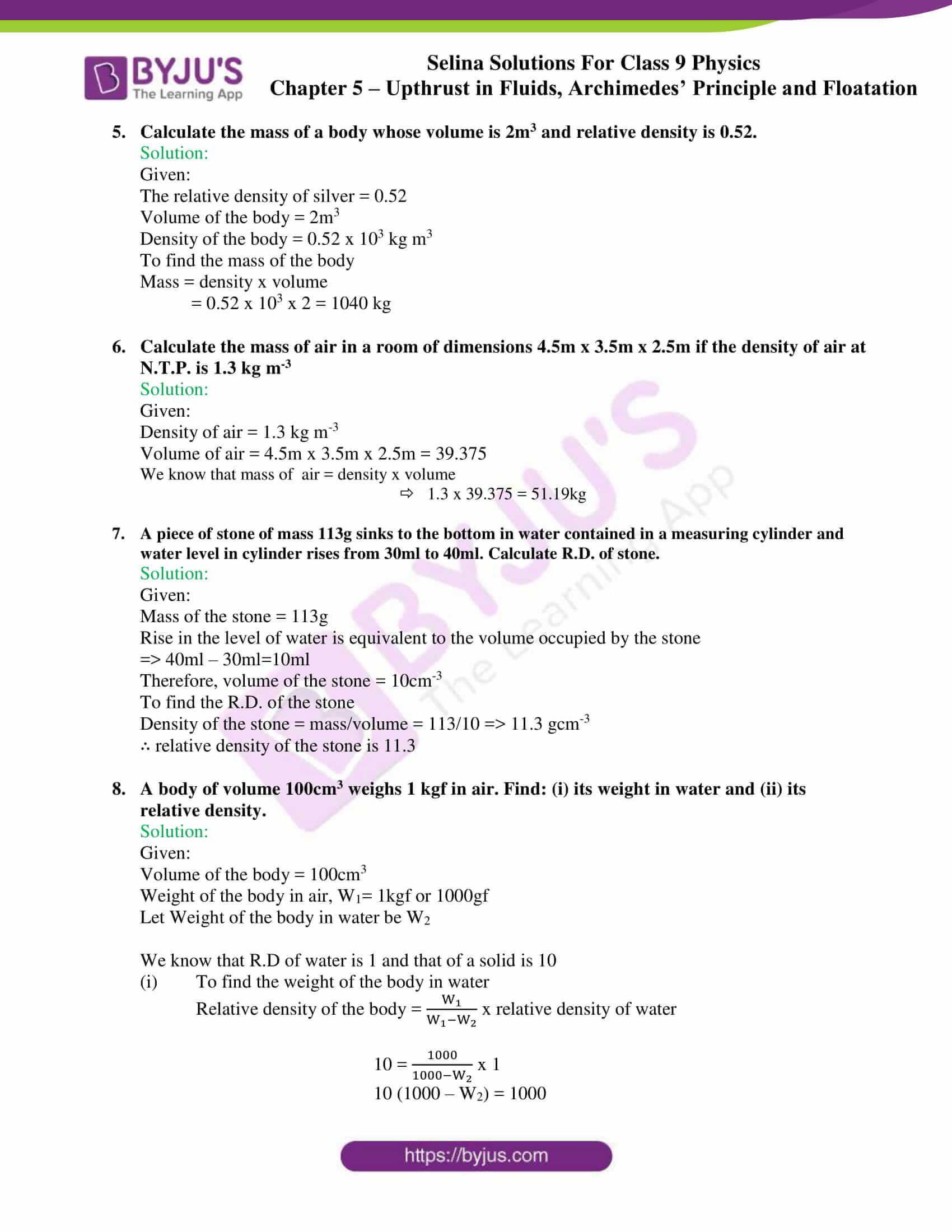 selina solutions class 9 physics chapter 5 part 19