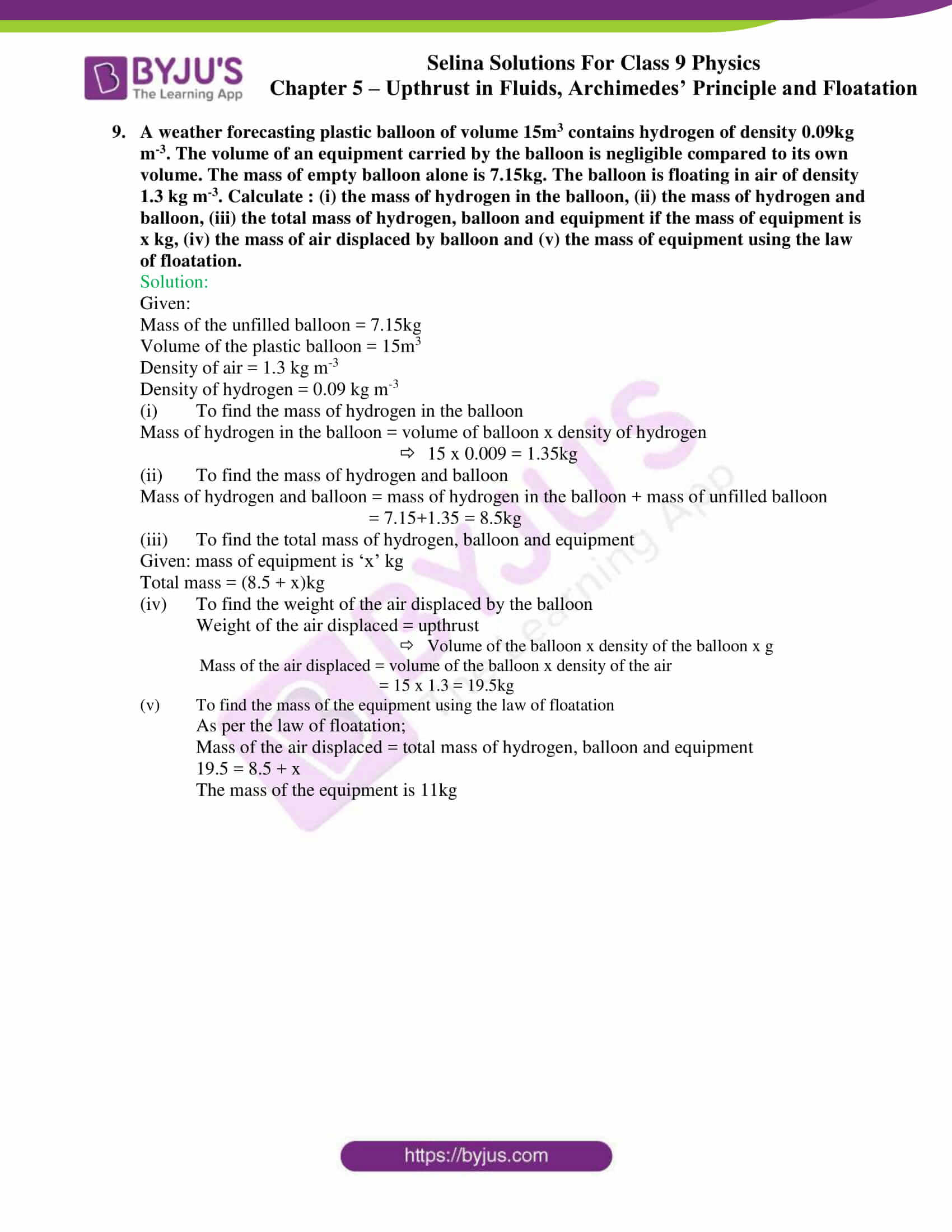 selina solutions class 9 physics chapter 5 part 33