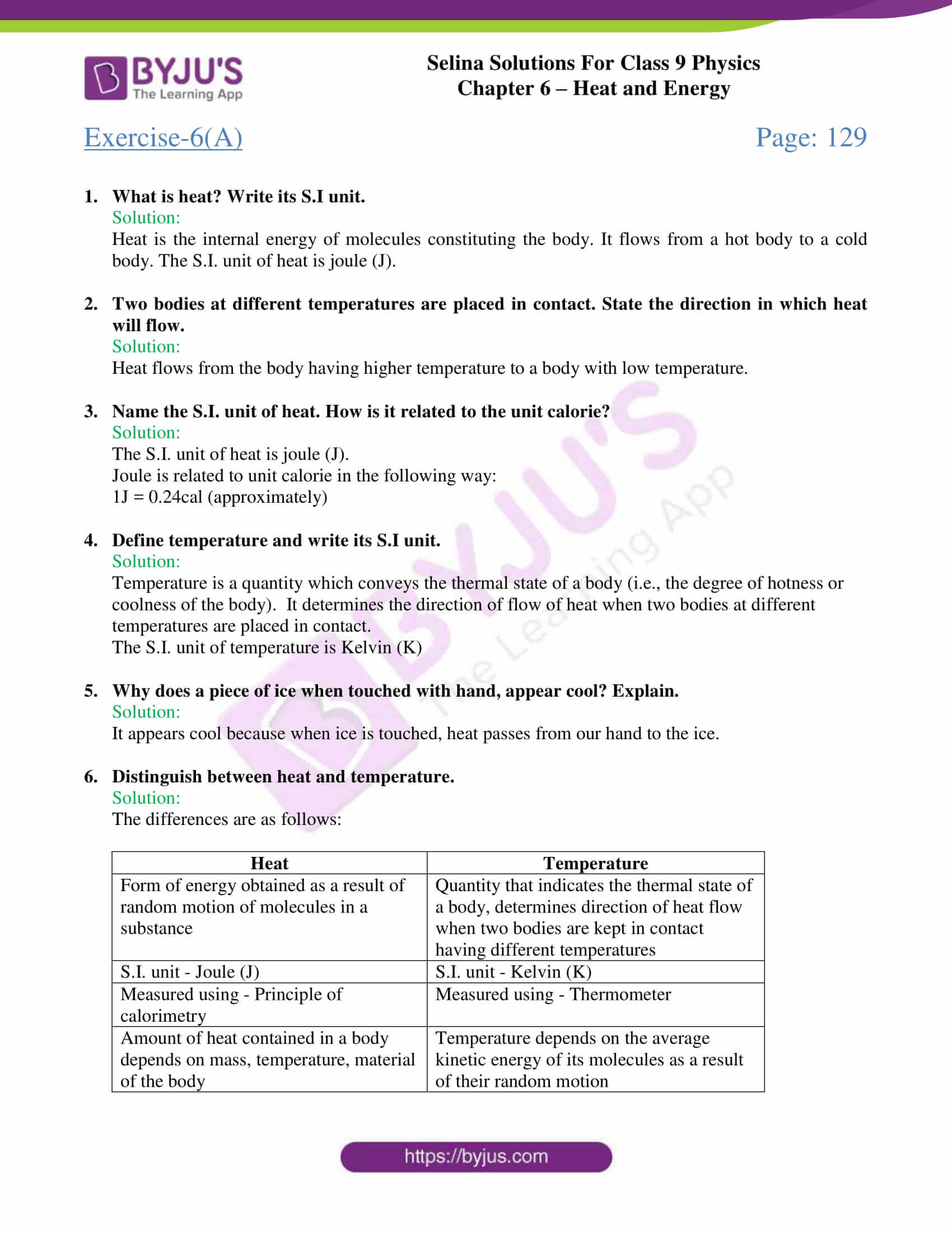 selina solutions class 9 physics chapter 6 Heat and Energy part 01