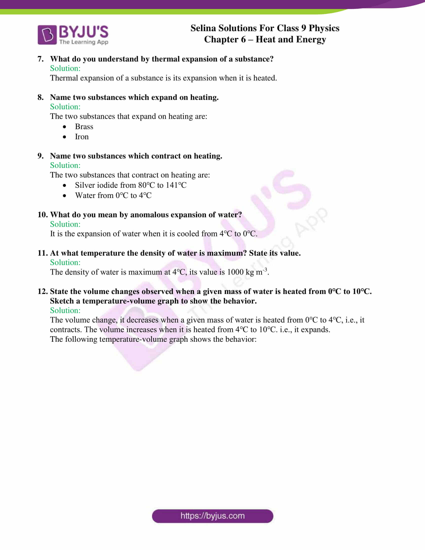 selina solutions class 9 physics chapter 6 Heat and Energy part 02