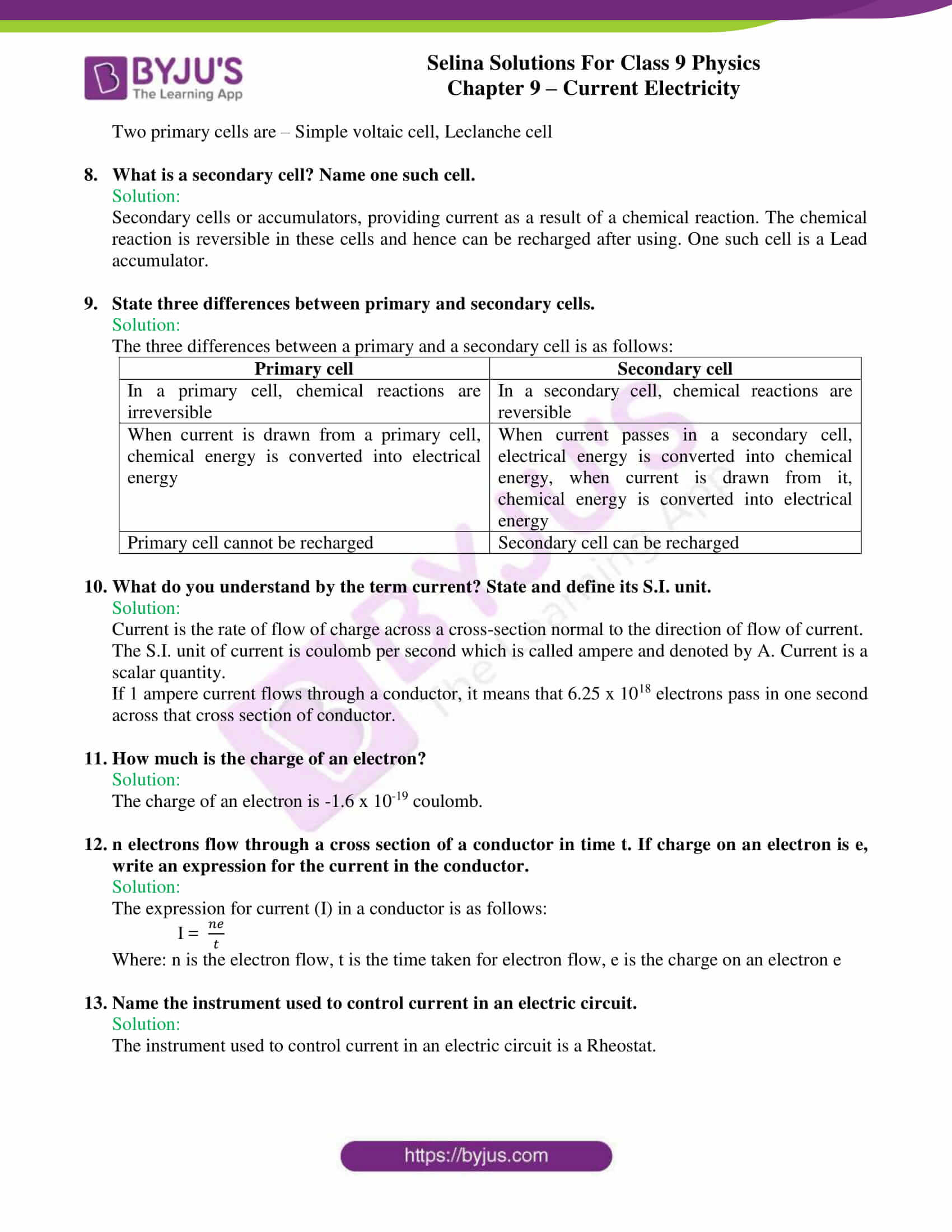 selina solutions class 9 physics chapter 9 Current Electricity part 02