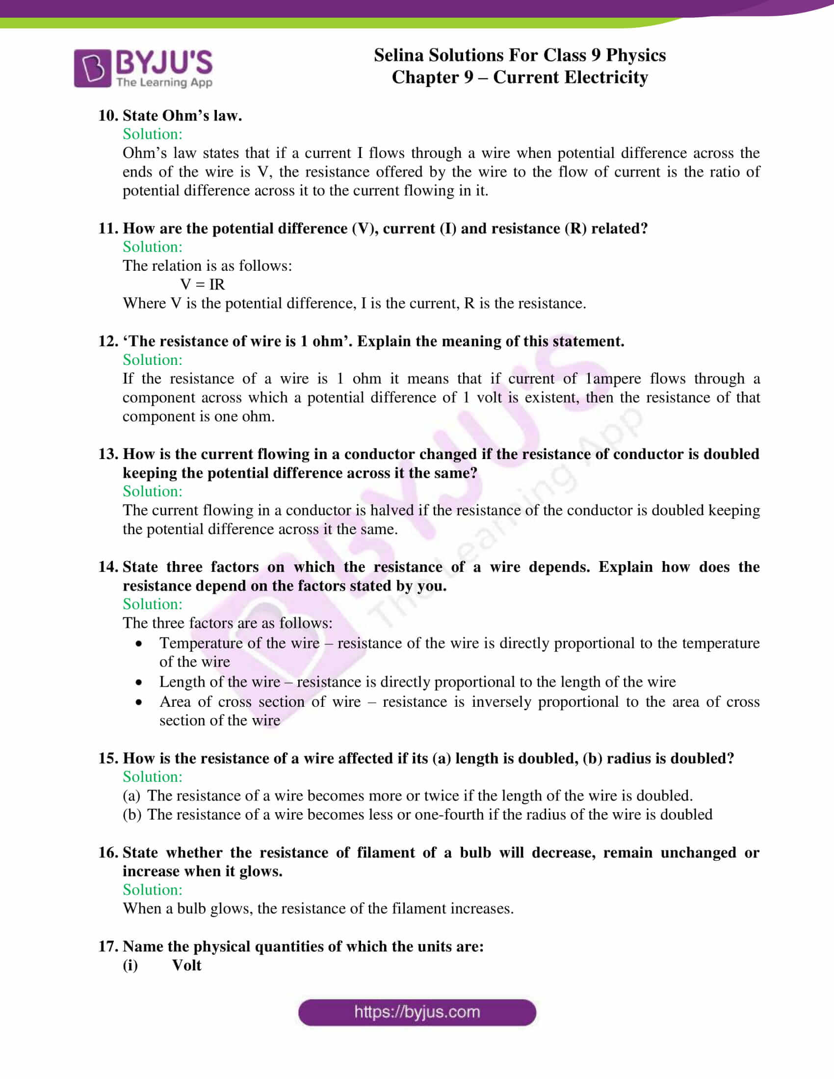 selina solutions class 9 physics chapter 9 Current Electricity part 11