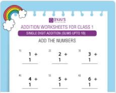Single digit addition Worksheet(Sums upto 10)-1