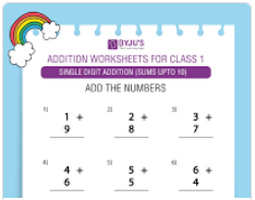 Single digit addition Worksheet(Sums upto 10)-2