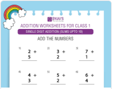 Single digit addition Worksheet(Sums upto 10)-3