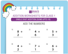 Single digit addition Worksheet(Sums upto 10)-5
