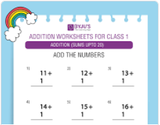Single digit addition worksheet(Sums upto 20)-1