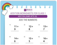Single digit addition worksheet(Sums upto 20)-2