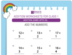 Single digit addition worksheet(Sums upto 20)-3