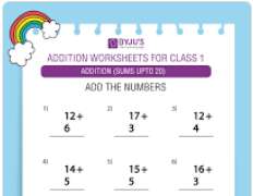 Single digit addition worksheet(Sums upto 20)-4
