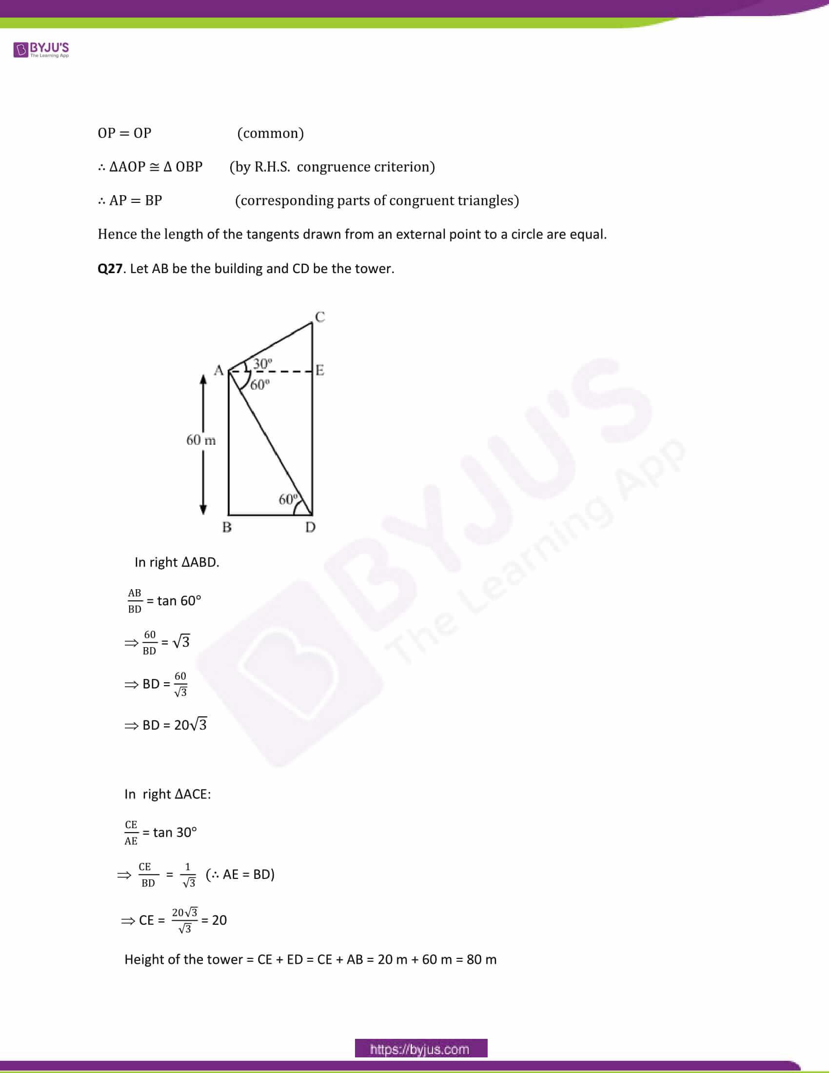 CBSE Class 10 Maths Papers Solution 2014 19