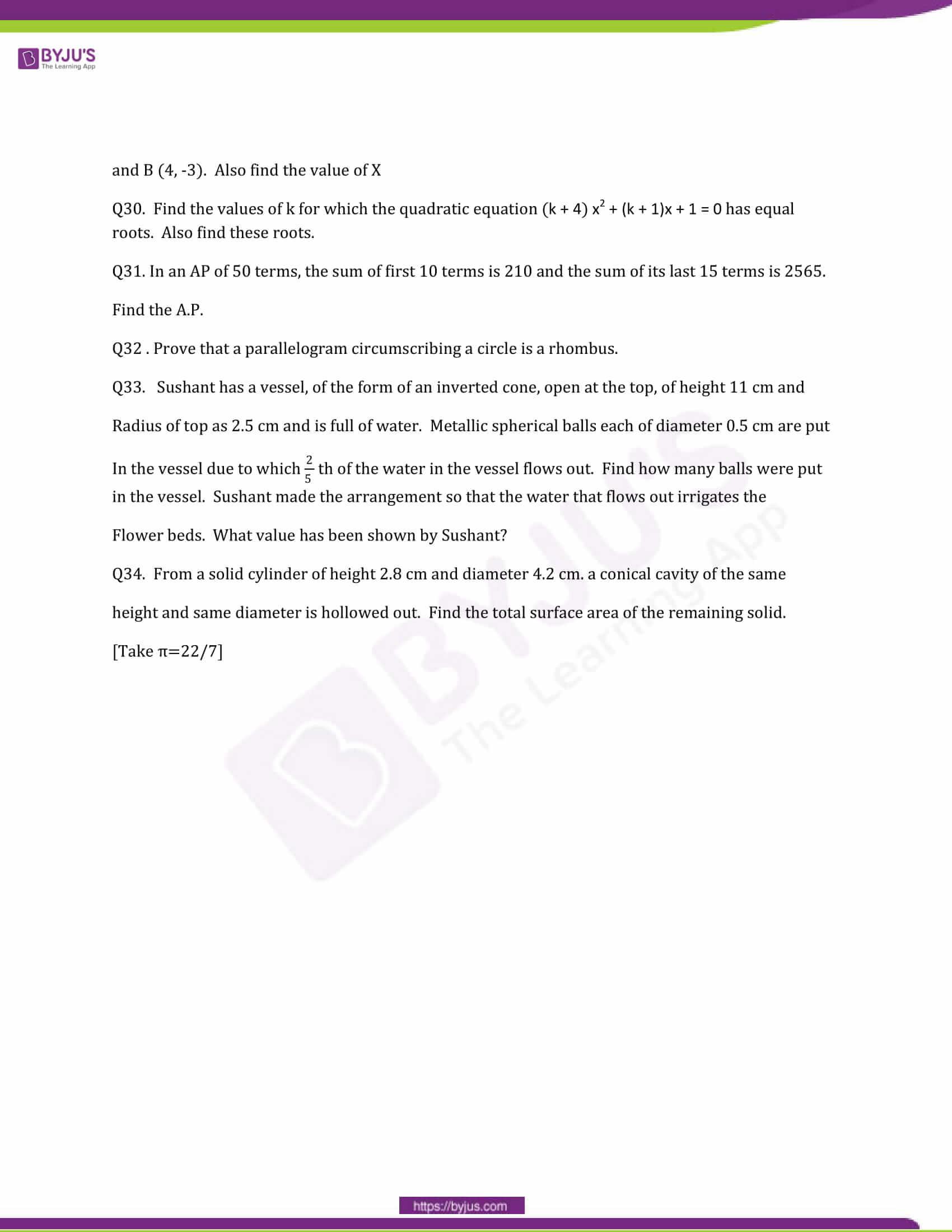 CBSE Class 10 Maths Question Papers 2014 6