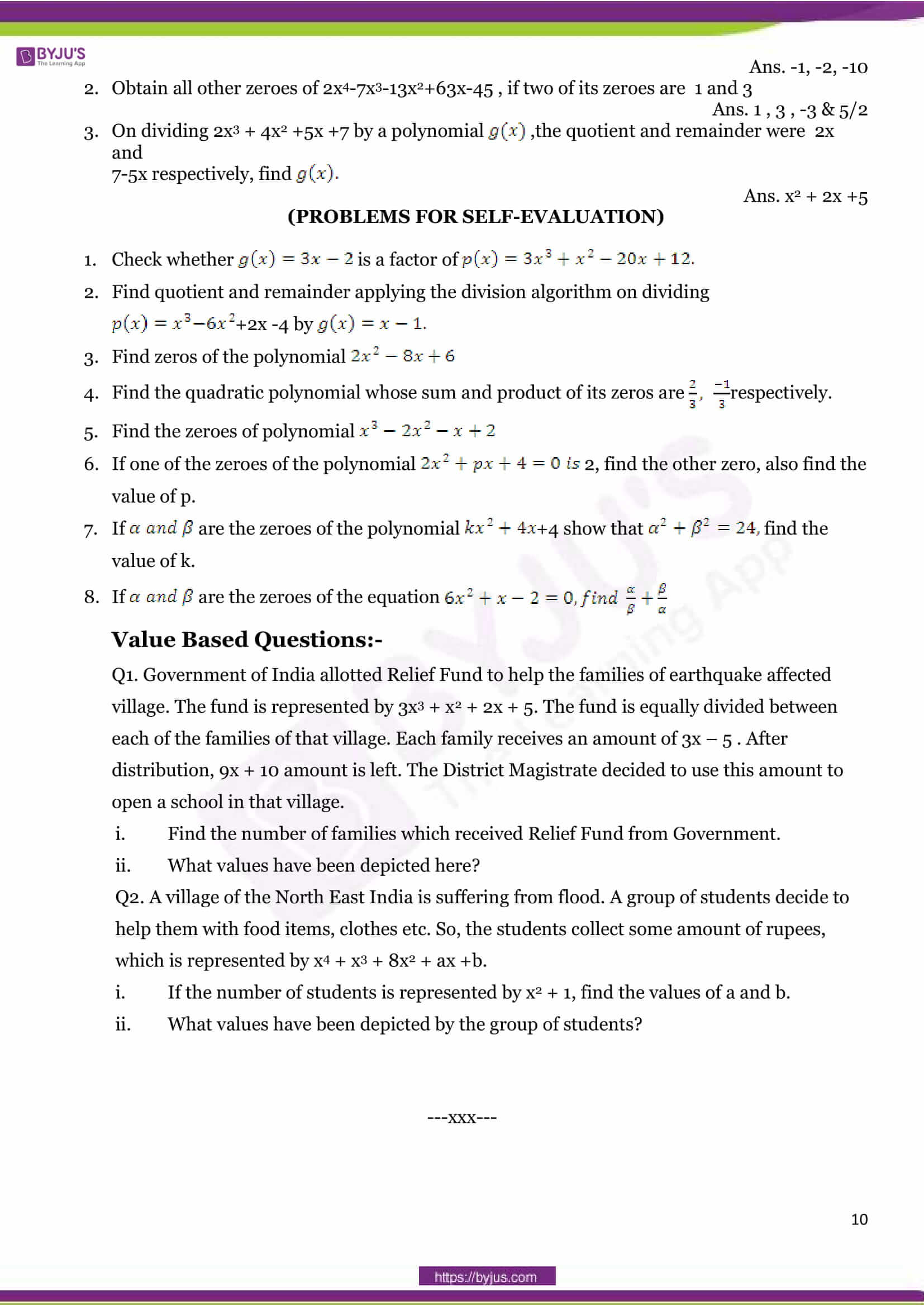 Cbse class 10 maths sample paper set 4