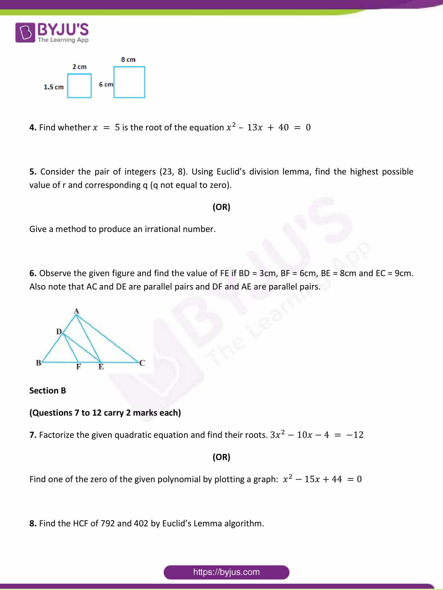 CBSE Class 10 Maths Sample Paper Set 1-2