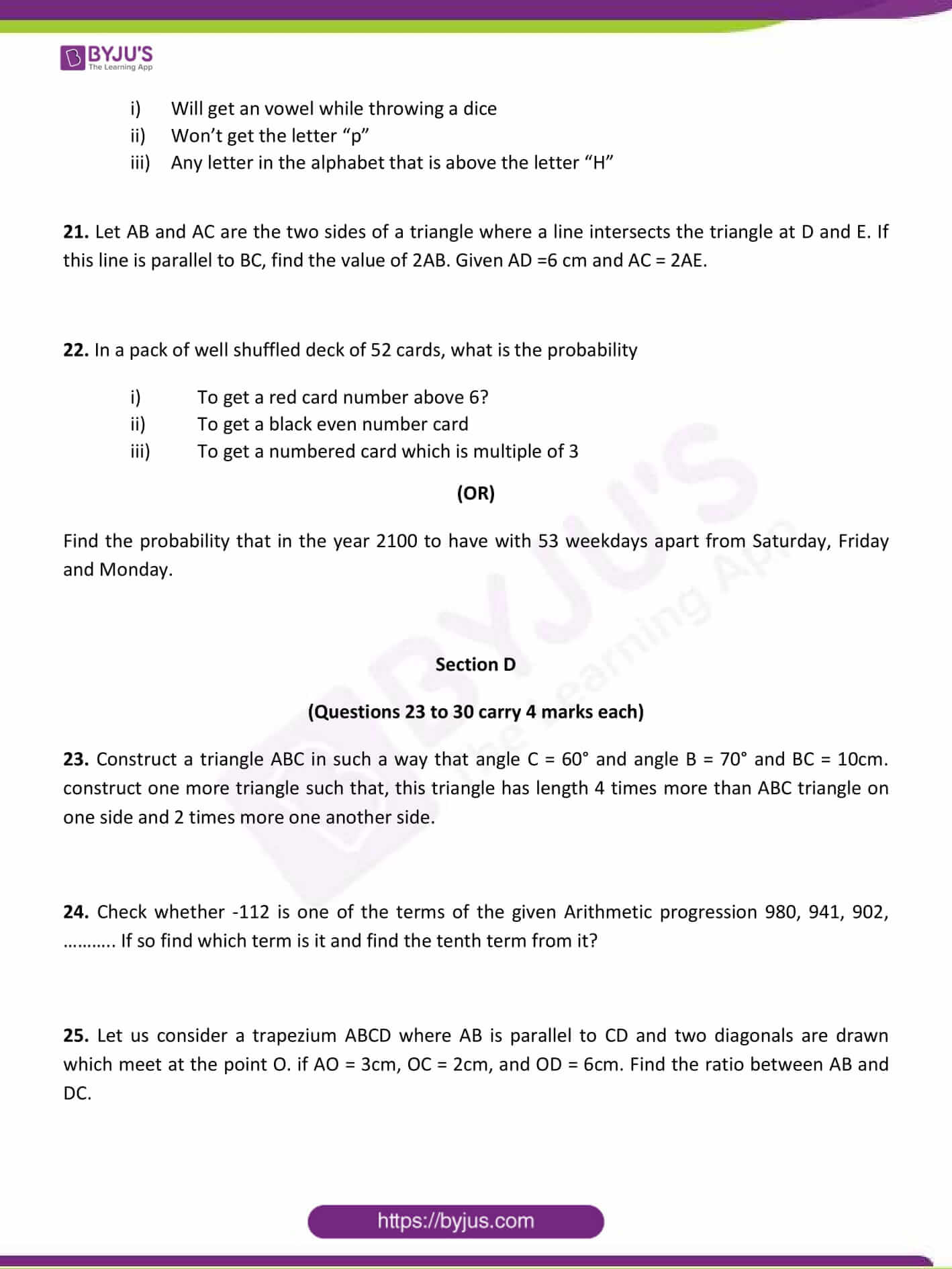 CBSE Class 10 Maths Sample Paper Set 1-6