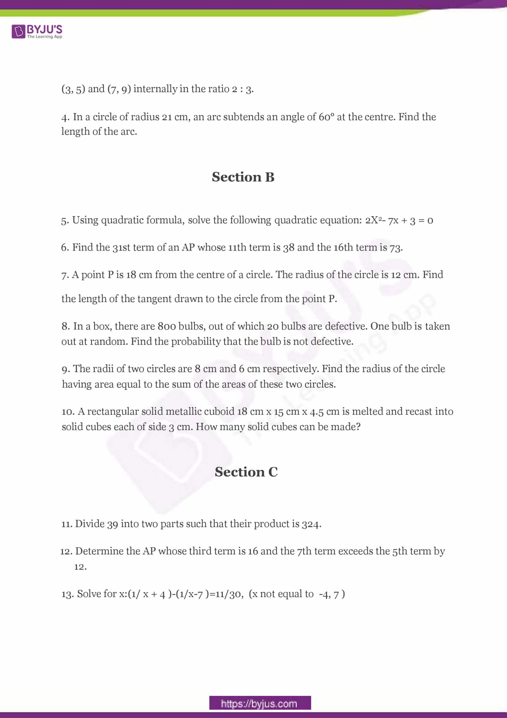 CBSE Class 10 Maths Sample Paper Set 2-2