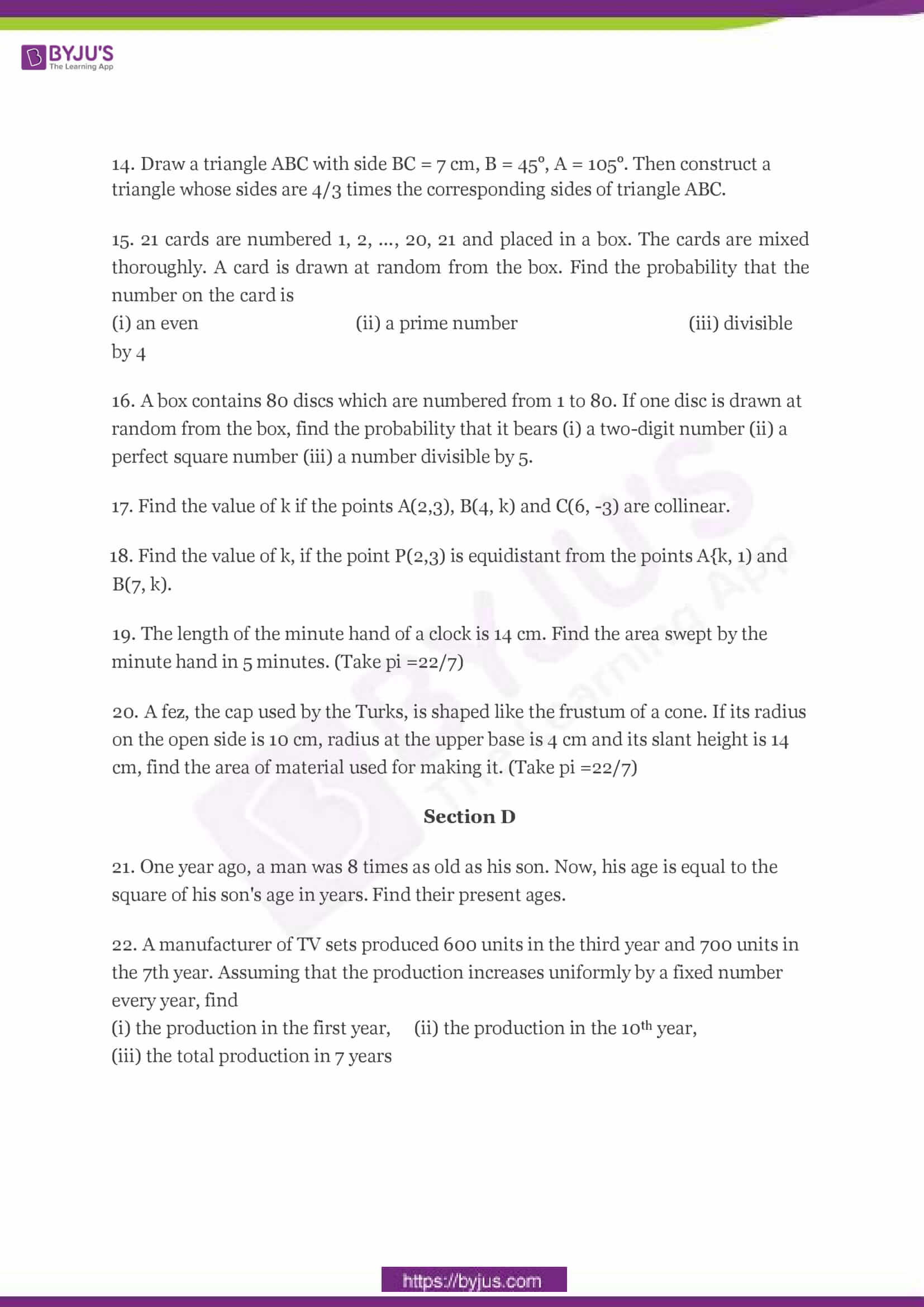 CBSE Class 10 Maths Sample Paper Set 2-3