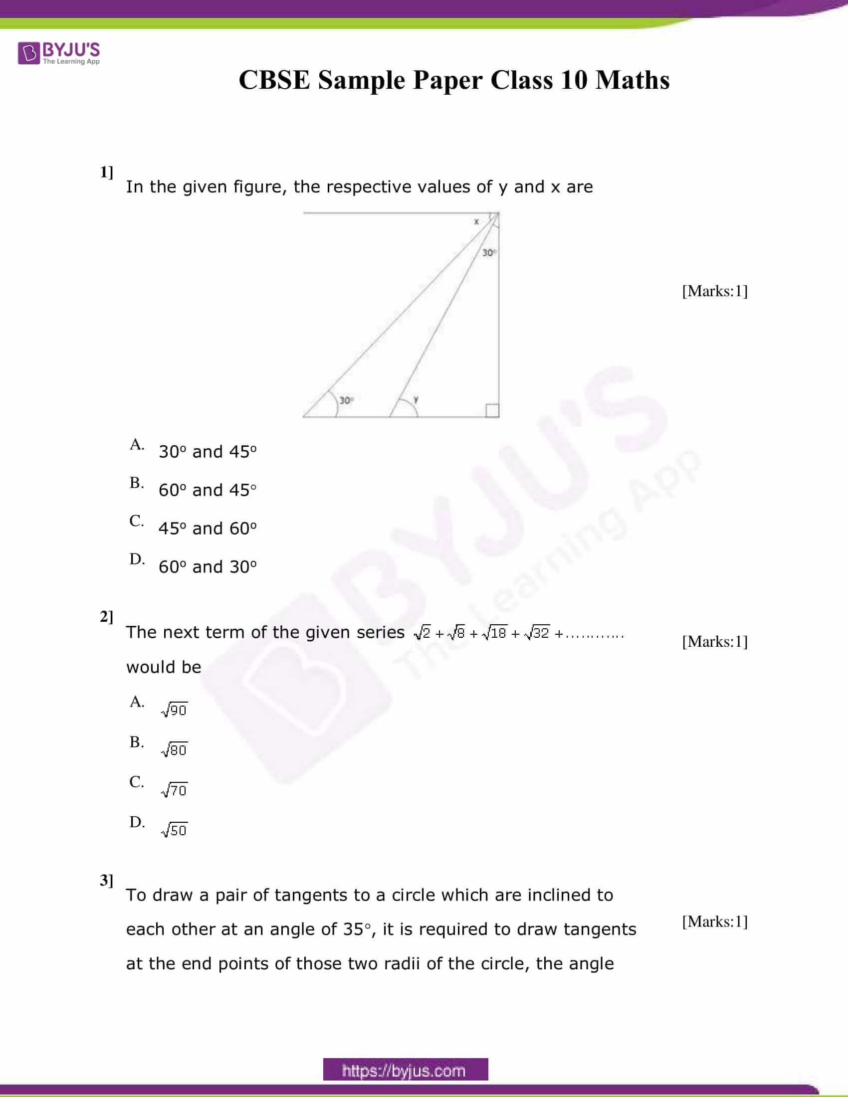 CBSE Class 10 Maths Sample Paper Set 4-1