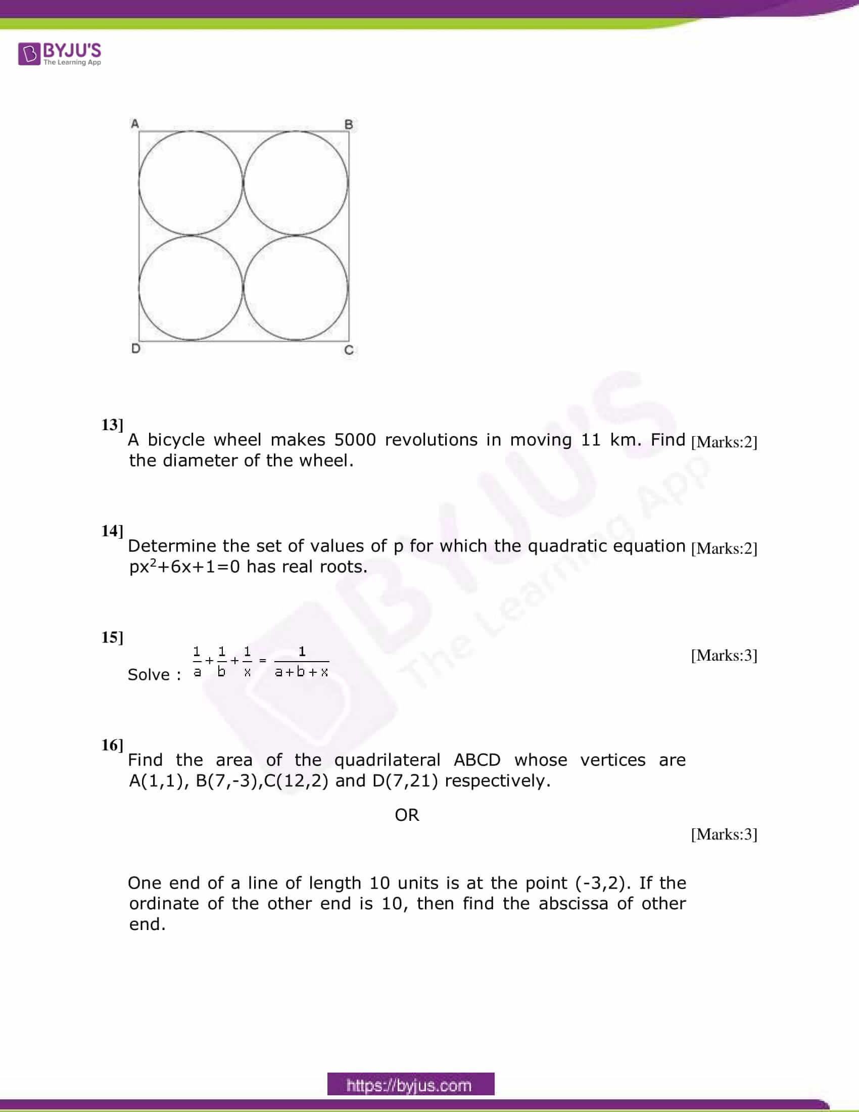 CBSE Class 10 Maths Sample Paper Set 4-5